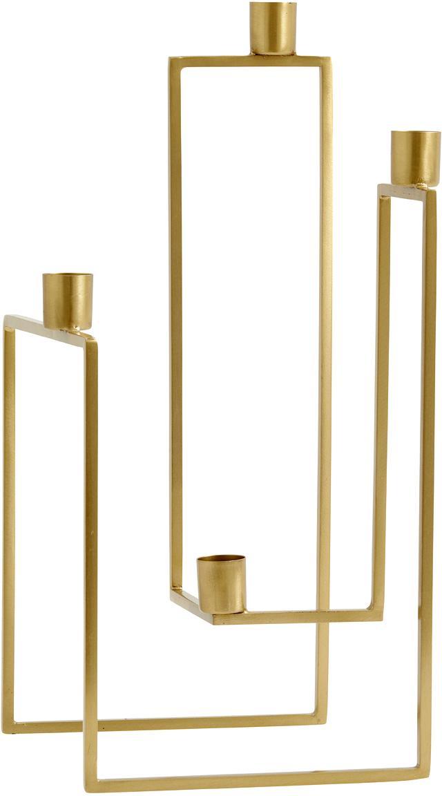 Świecznik Ora, Metal mosiądzowany, Odcienie mosiądzu, S 18 x W 35 cm