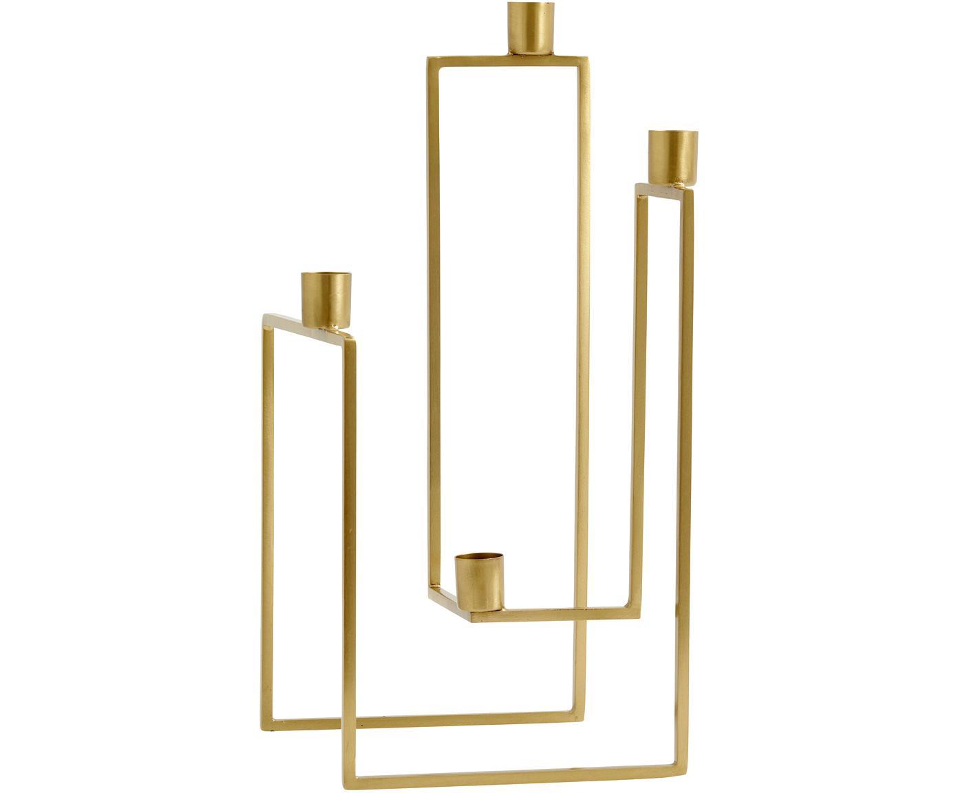 Kerzenhalter Ora, Metall, vermessingt, Messingfarben, 18 x 35 cm