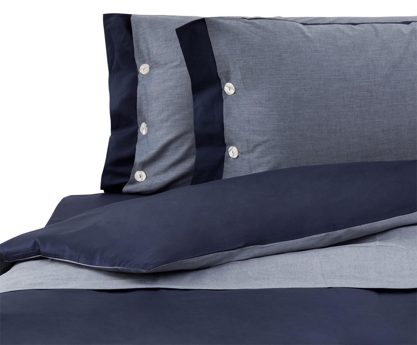 Completo copripiumino in raso di cotone Charme, Raso di cotone, Blu, grigio blu, 200 x 255 cm