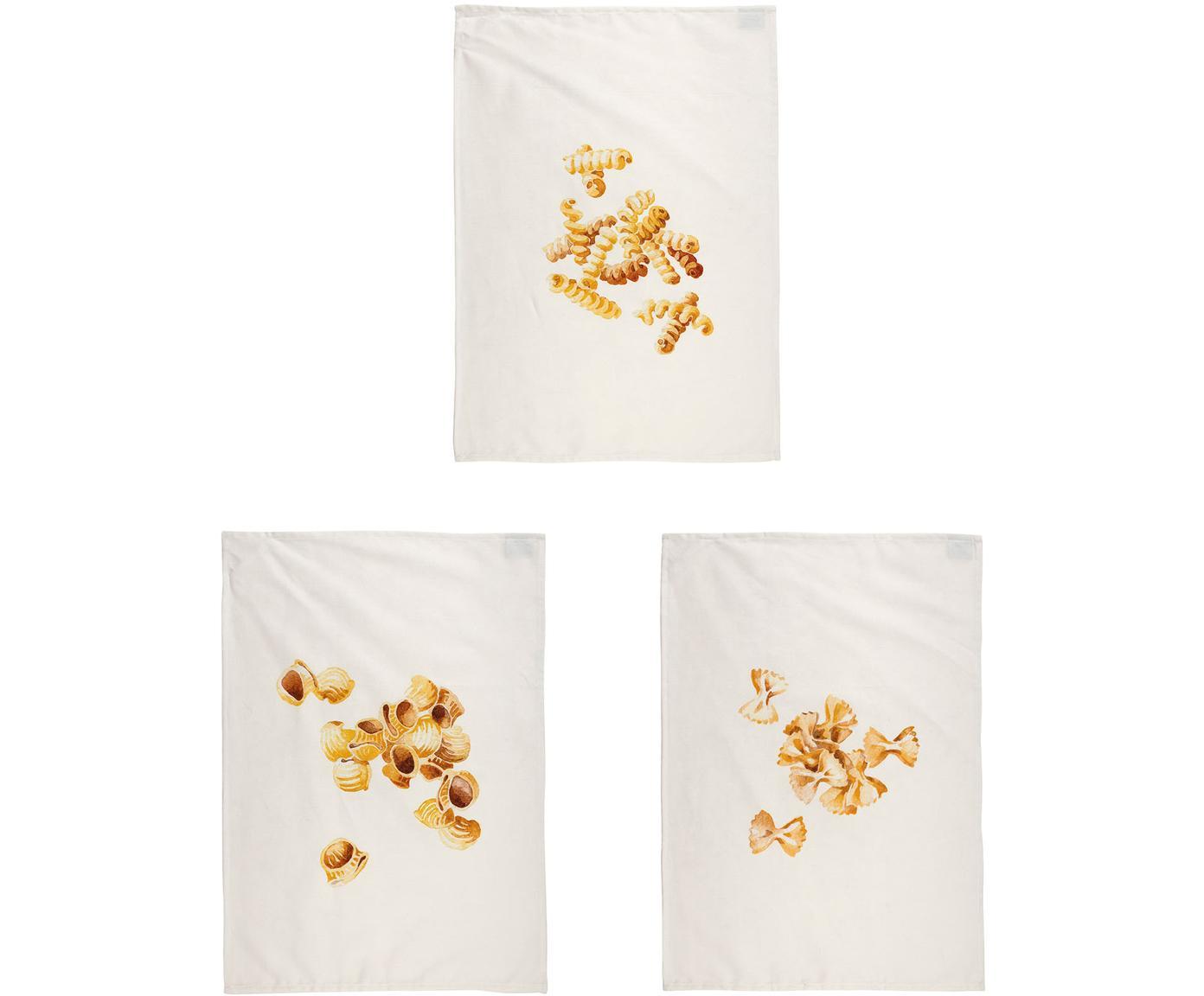 Set de paños de cocina Pasta, 3pzas., 100%algodón, Blanco, amarillo, An 50 x L 70 cm