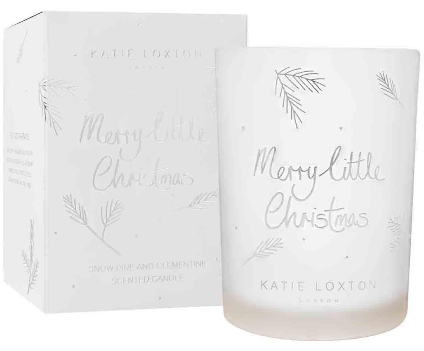 Candela natalizia profumata Merry Little Christmas, Contenitore: vetro, Bianco, argentato, Ø 8 x A 11 cm
