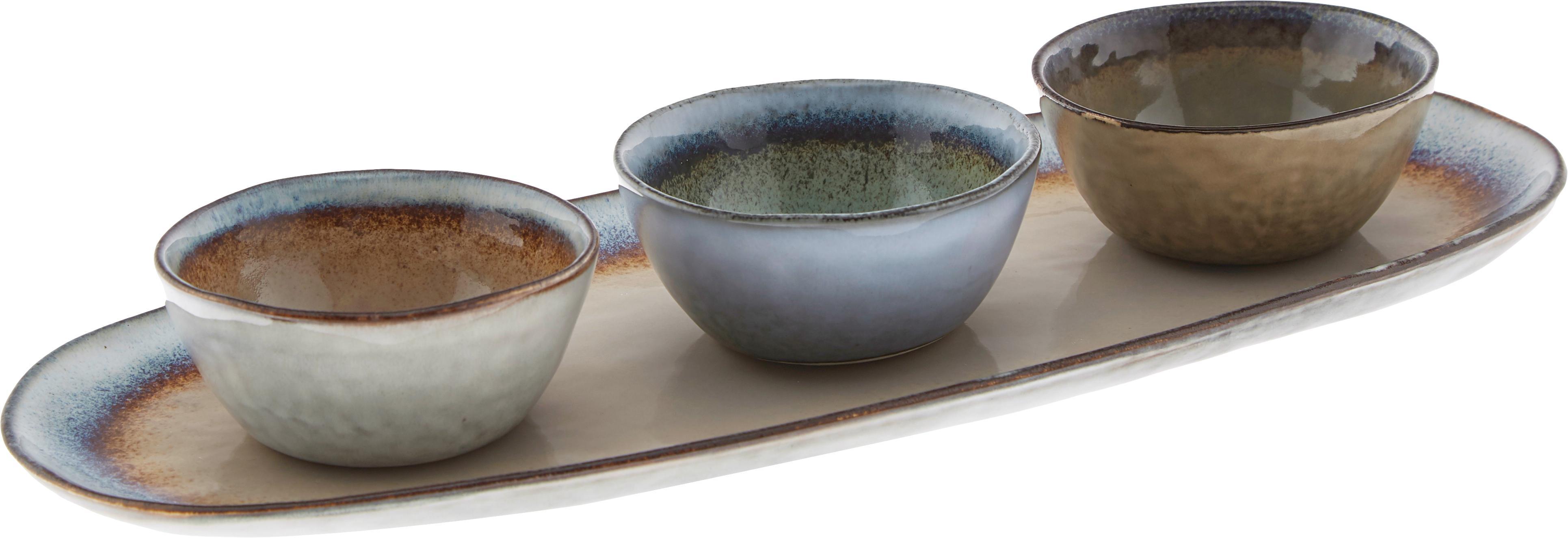 Komplet ręcznie wykonanych misek do dipów Nomimono, 3 elem., Kamionka, Wielobarwny, Komplet z różnymi rozmiarami