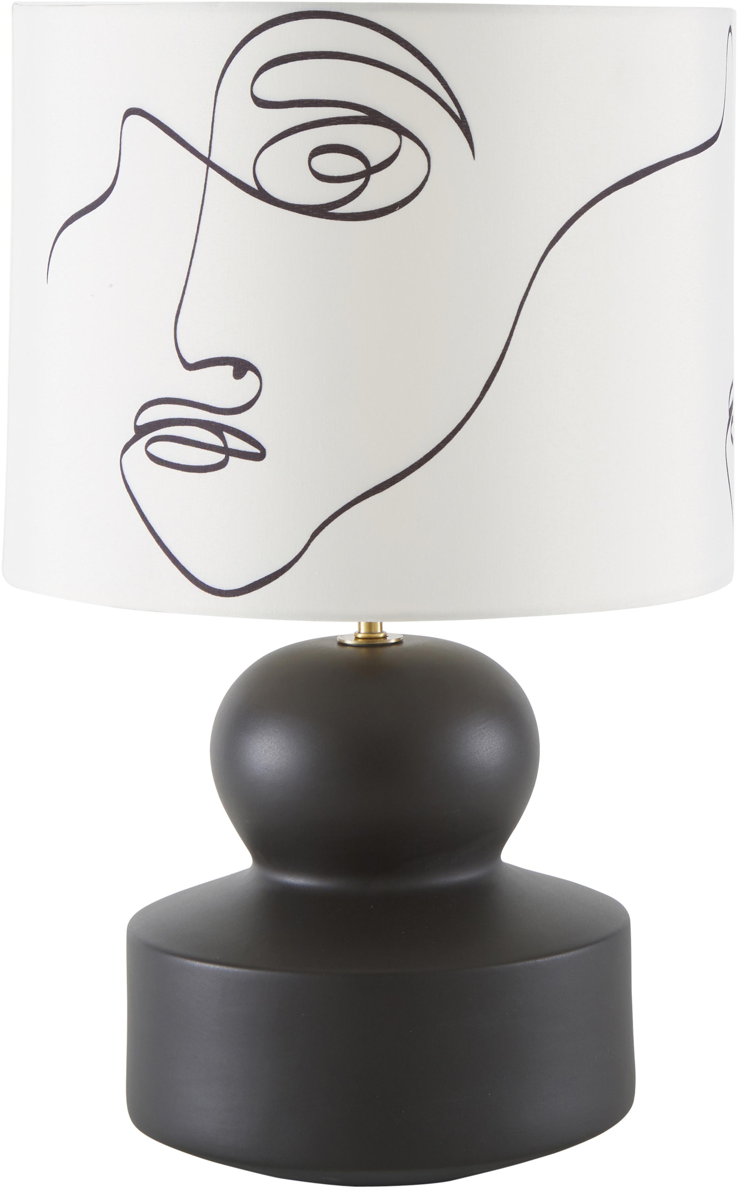 Keramische tafellamp Georgina, Lampenkap: textiel, Lampvoet: keramiek, Decoratie: vermessingd metaal, Crèmewit, zwart, Ø 33 x H 52 cm
