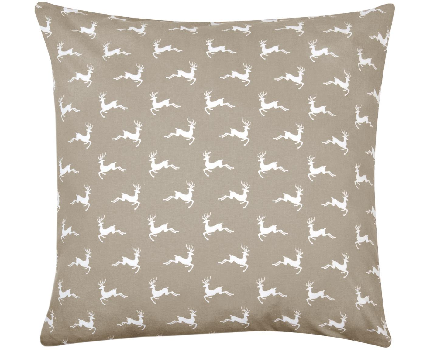 Poszewka na poduszkę z flaneli Rudolph, Beżowy, biały, S 65 x D 65 cm