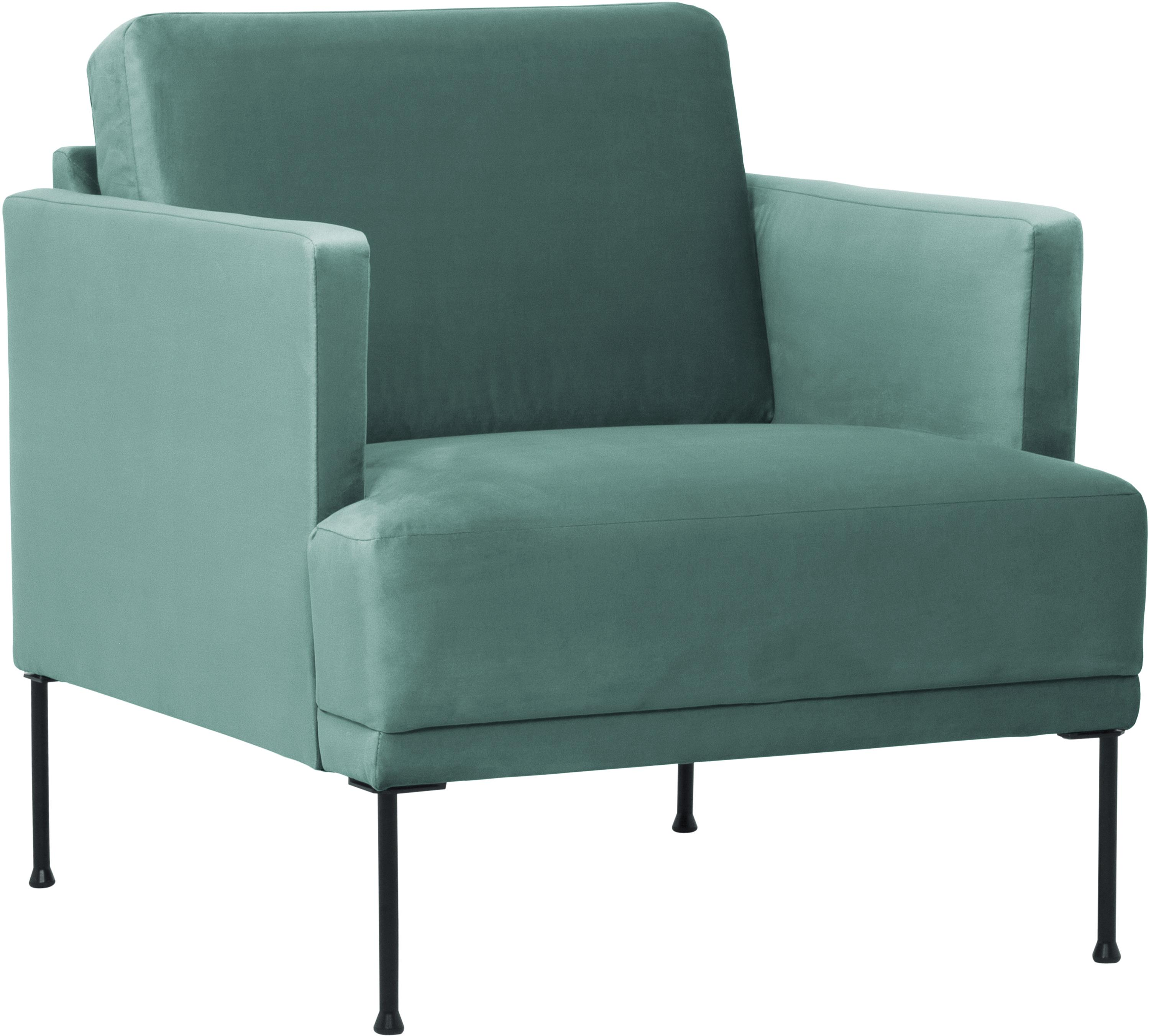 Fotel z aksamitu Fluente, Tapicerka: aksamit (wysokiej jakości, Stelaż: lite drewno sosnowe, Nogi: metal malowany proszkowo, Aksamitny jasny zielony, S 74 x G 85 cm