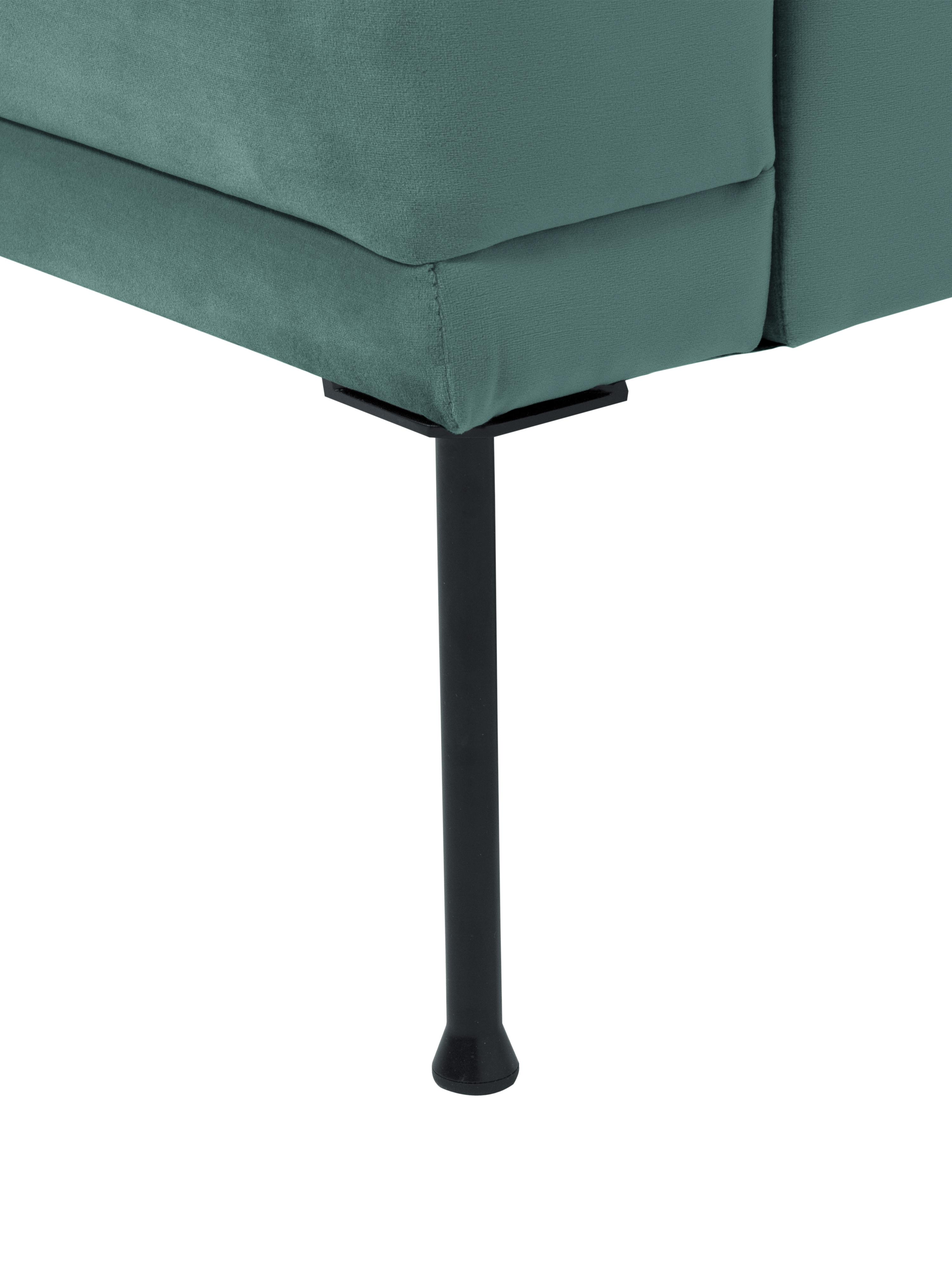 Samt-Sessel Fluente, Bezug: Samt (Hochwertiger Polyes, Gestell: Massives Kiefernholz, Füße: Metall, pulverbeschichtet, Samt Hellgrün, B 74 x T 85 cm