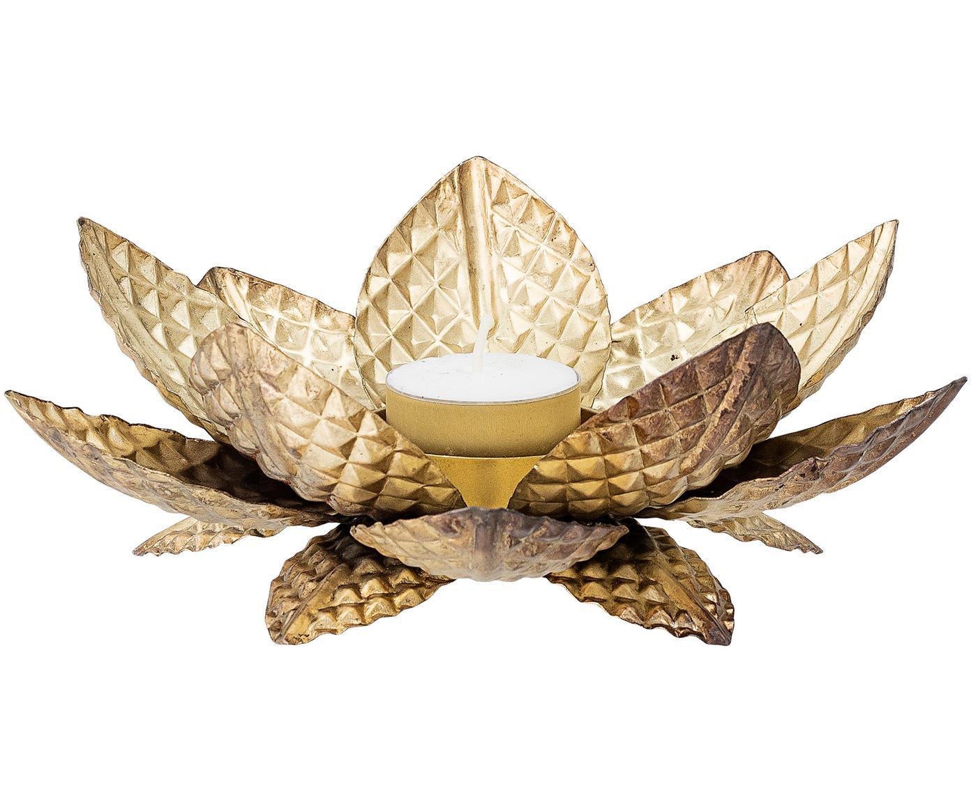 Świecznik na podgrzewacze Lotus, Metal powlekany, Odcienie mosiądzu, Ø 20 cm x W 7 cm