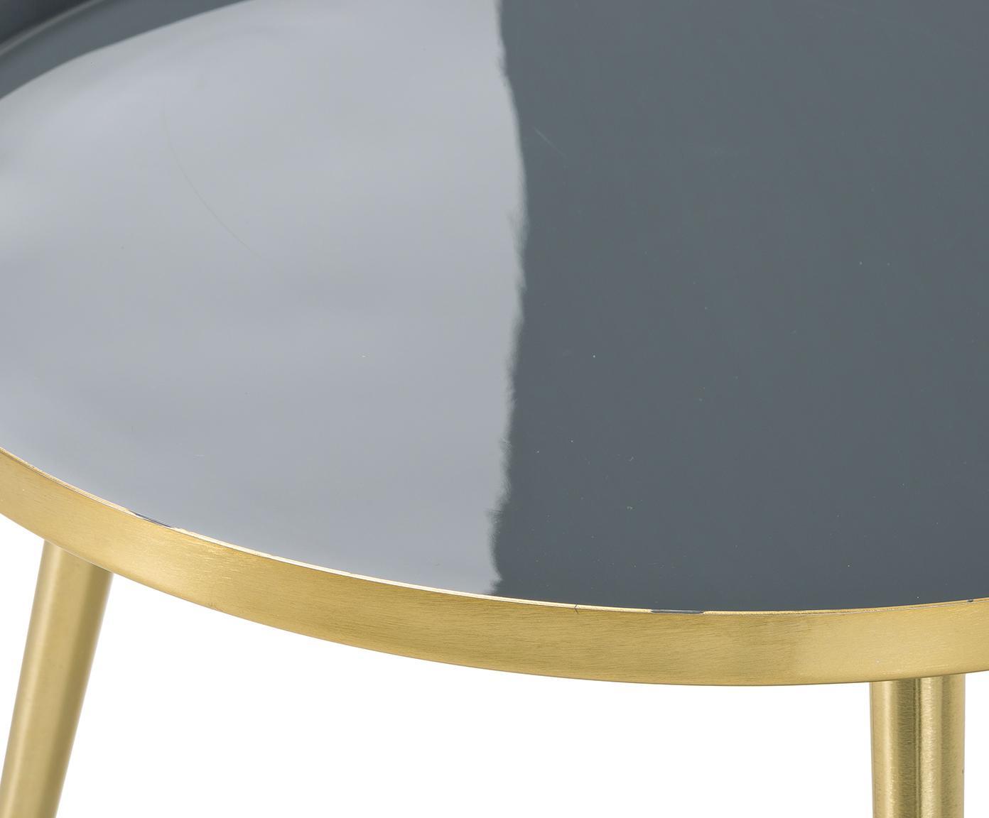 Stolik kawowy Amalia, Blat: szary Nogi stolika: odcienie złotego, Ø 50 x W 42 cm