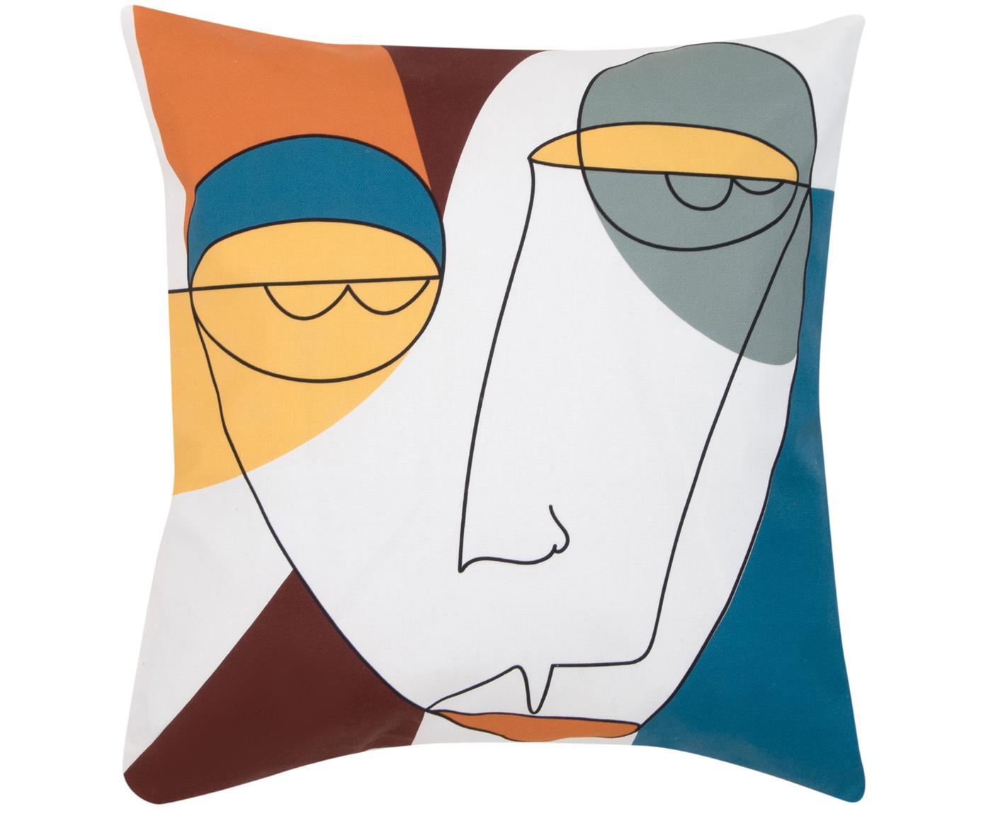 Kissenhülle Adrian mit abstraktem Print in Bunt, Webart: Panama, Weiss, Mehrfarbig, 40 x 40 cm