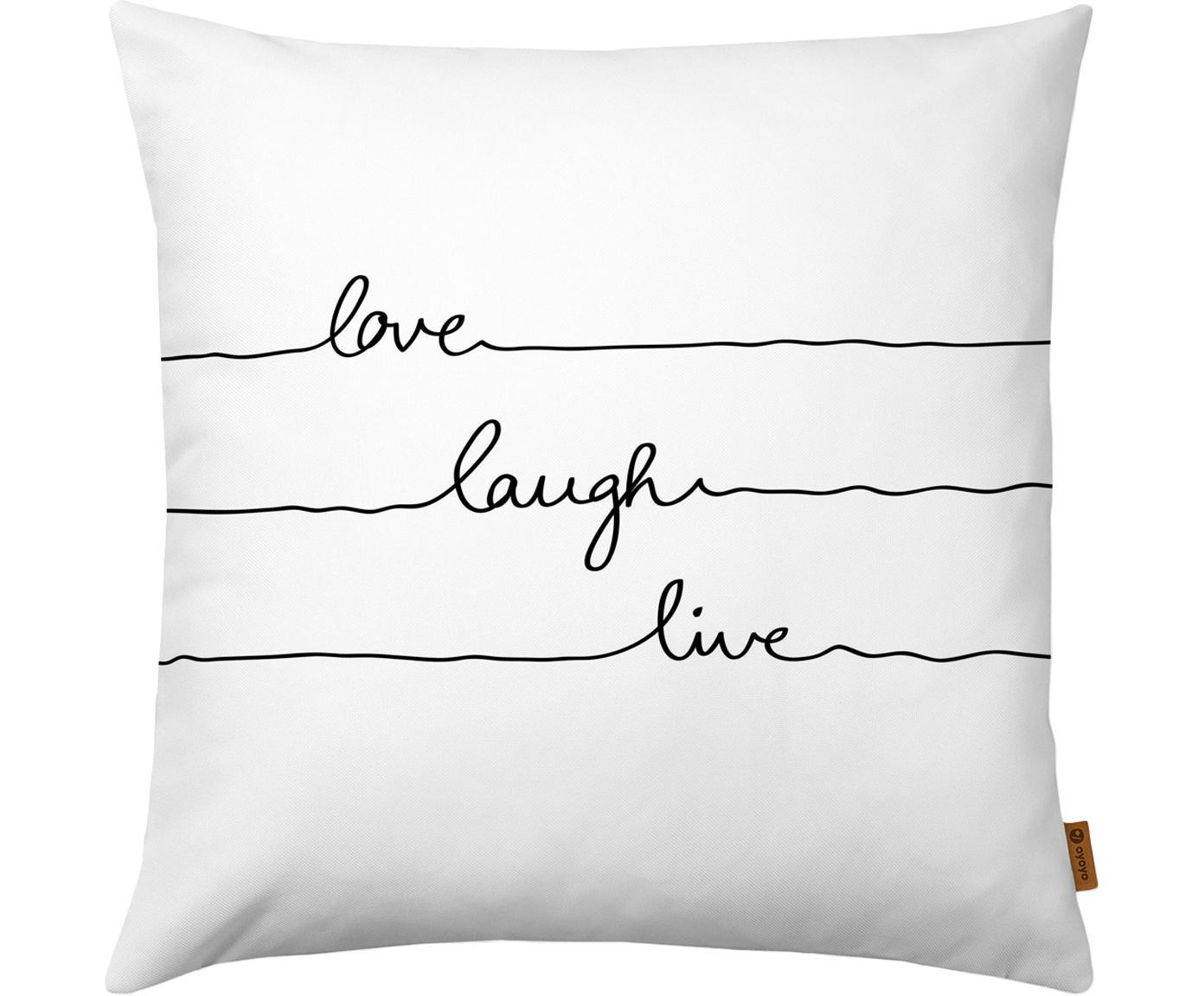 Kussenhoes Love Laugh Live met opschrift, Polyester, Wit, zwart, 40 x 40 cm