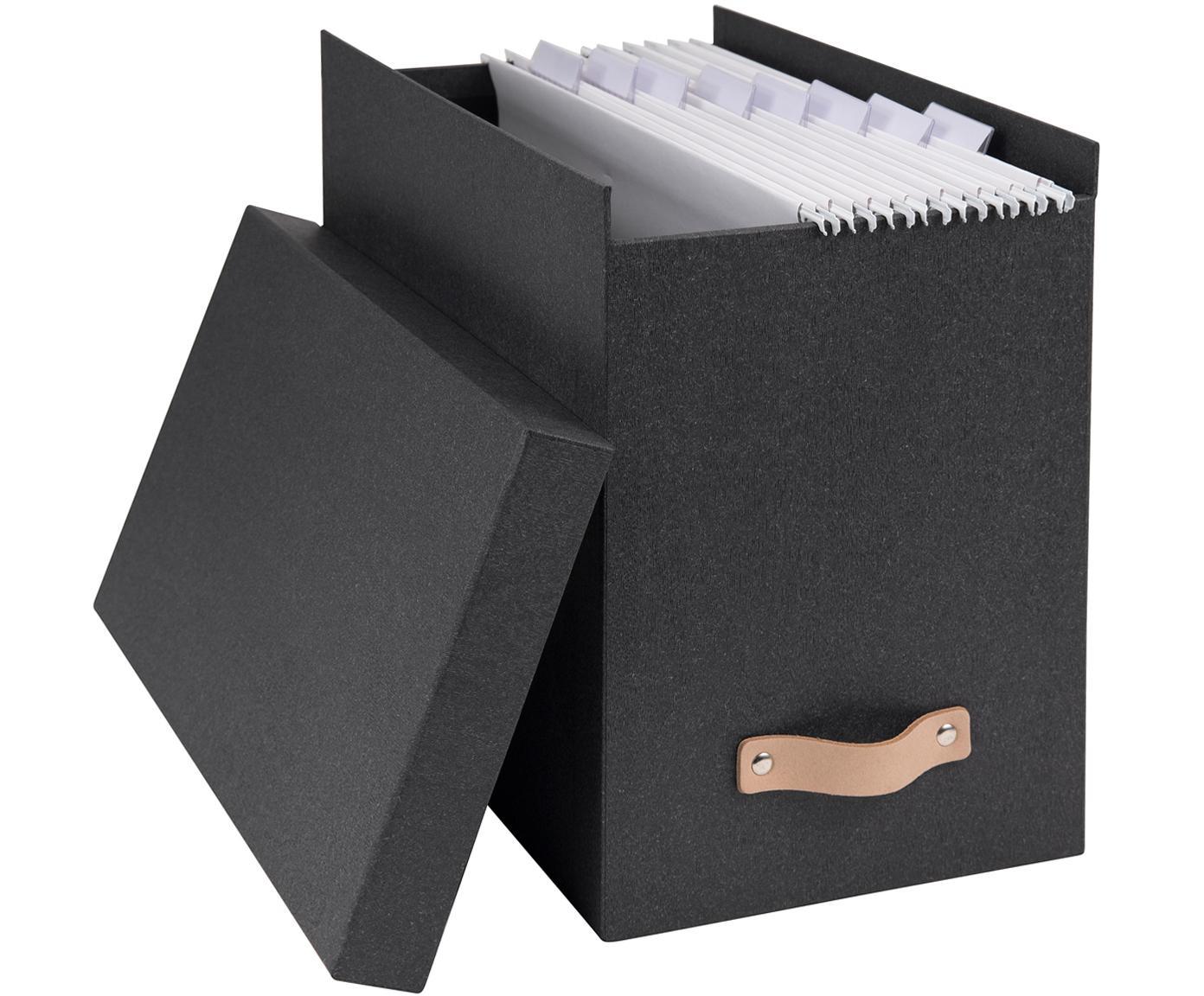 Hängeregister-Box Johan II, 9-tlg., Organizer: Fester Karton, mit Holzde, Griff: Leder, Organizer aussen: SchwarzOrganizer innen: SchwarzGriff: Beige, 19 x 27 cm