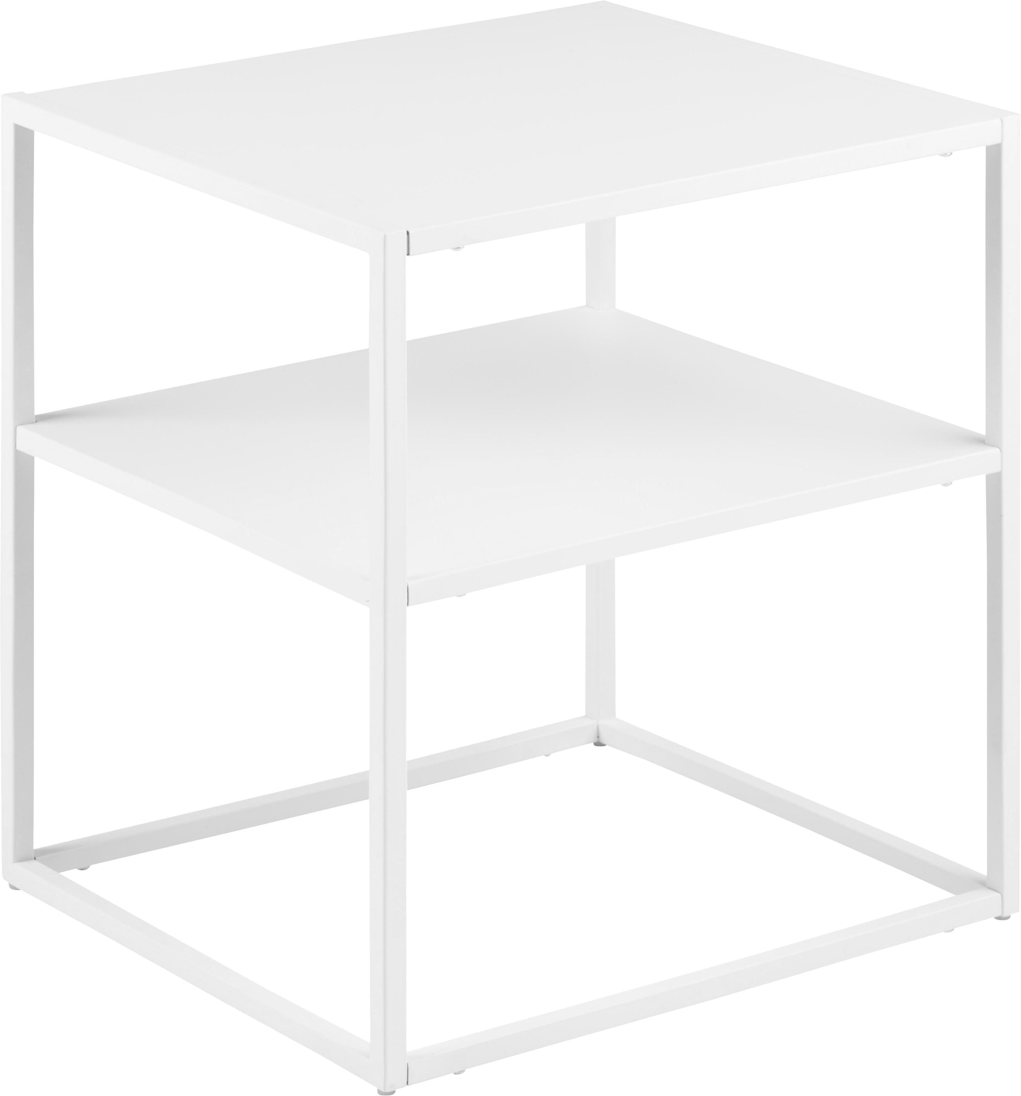 Mesa auxiliar Newton, Metal pintado, Blanco, An 45 x F 40 cm
