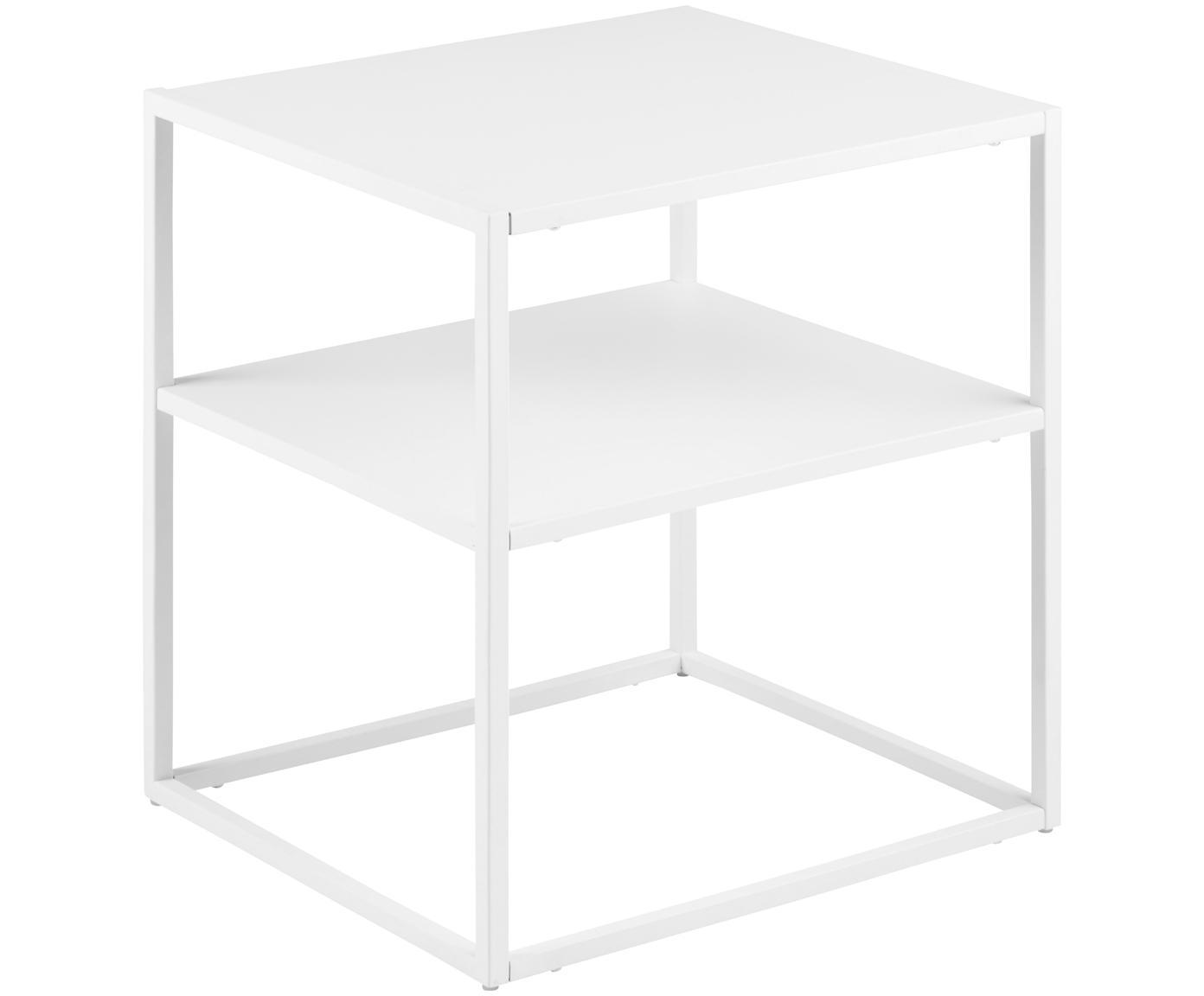 Tavolino in metallo bianco Newton, Metallo verniciato, Gambe: legno di quercia Corpo e frontale: bianco, opaco, Larg. 45 x Prof. 40 cm