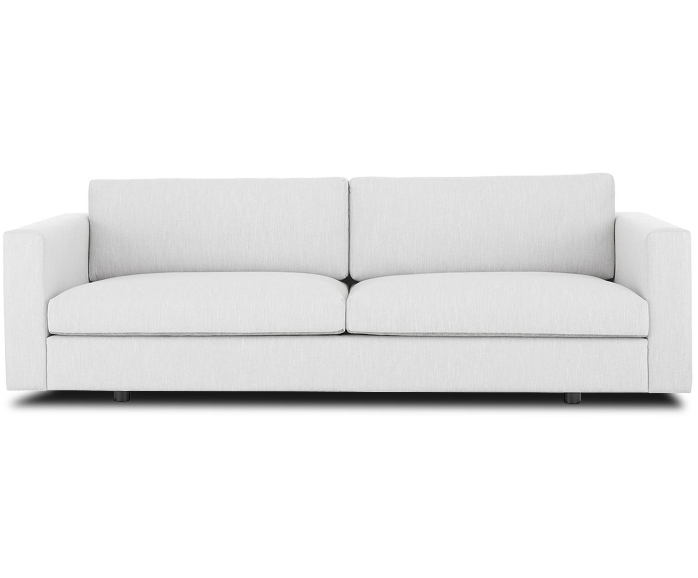 Sofa Balmira (3-Sitzer), Bezug: Polyester 35.000 Scheuert, Gestell: Massives Kiefernholz, Füße: Massives Birkenholz, lack, Webstoff Hellgrau, B 240 x T 96 cm
