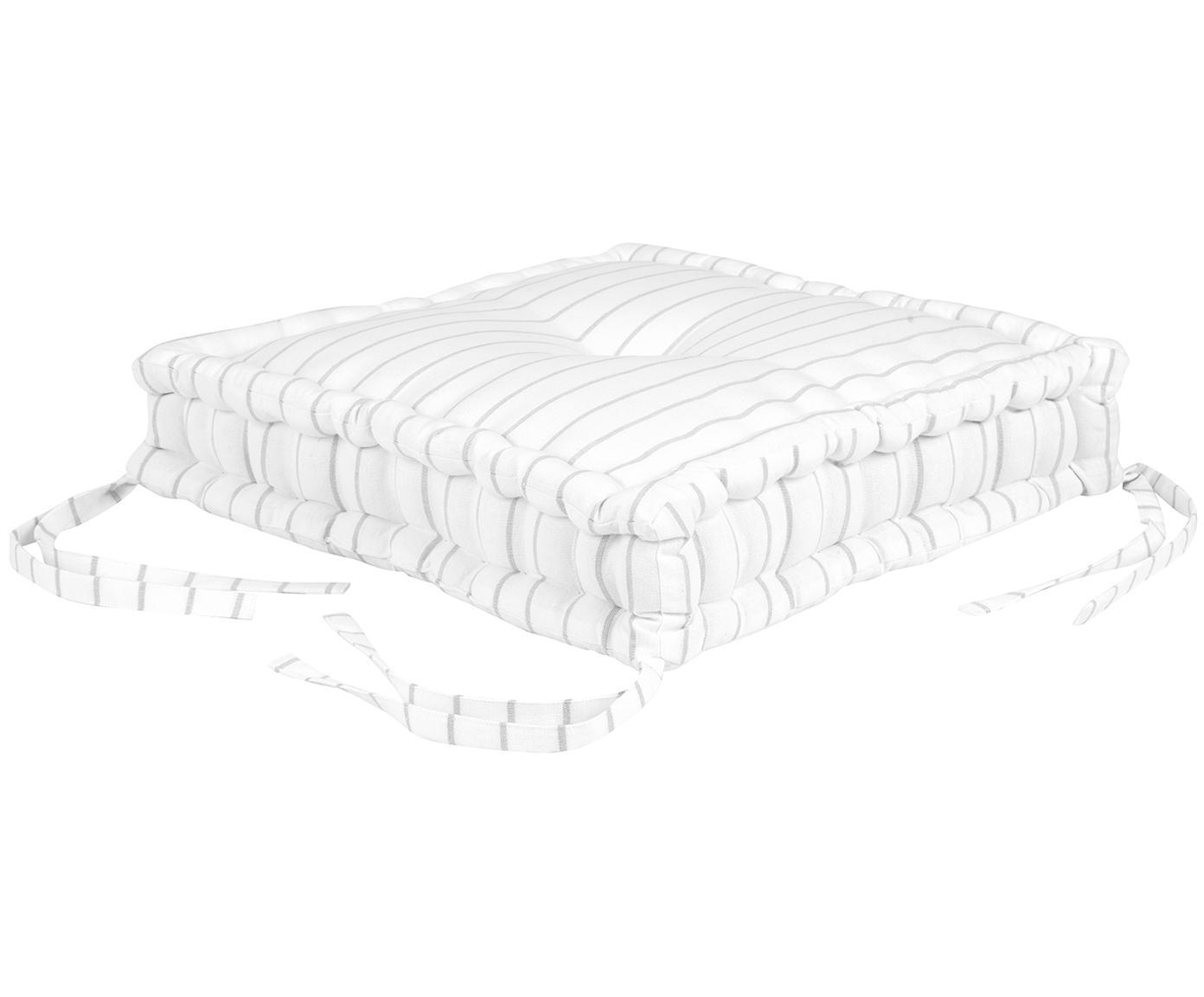 Hohes Sitzkissen Ludmilla, gestreift, Hellgrau, Cremeweiß, 45 x 45 cm
