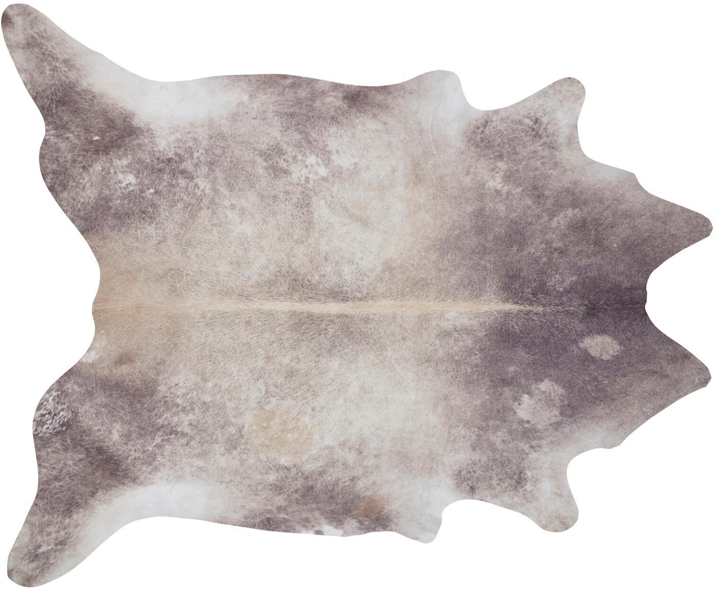 Kuhfell-Teppich Clarence aus Kunstfell, Cremefarben, Braun, 155 x 190 cm
