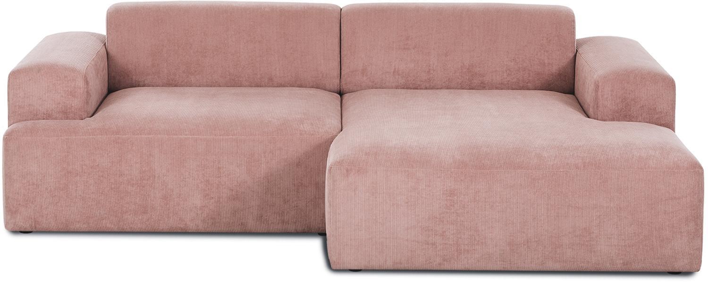 Cord-Ecksofa Melva (3-Sitzer), Bezug: Cord (92% Polyester, 8% P, Gestell: Massives Kiefernholz, Spa, Füße: Kiefernholz, Cord Rosa, B 240 x T 144 cm