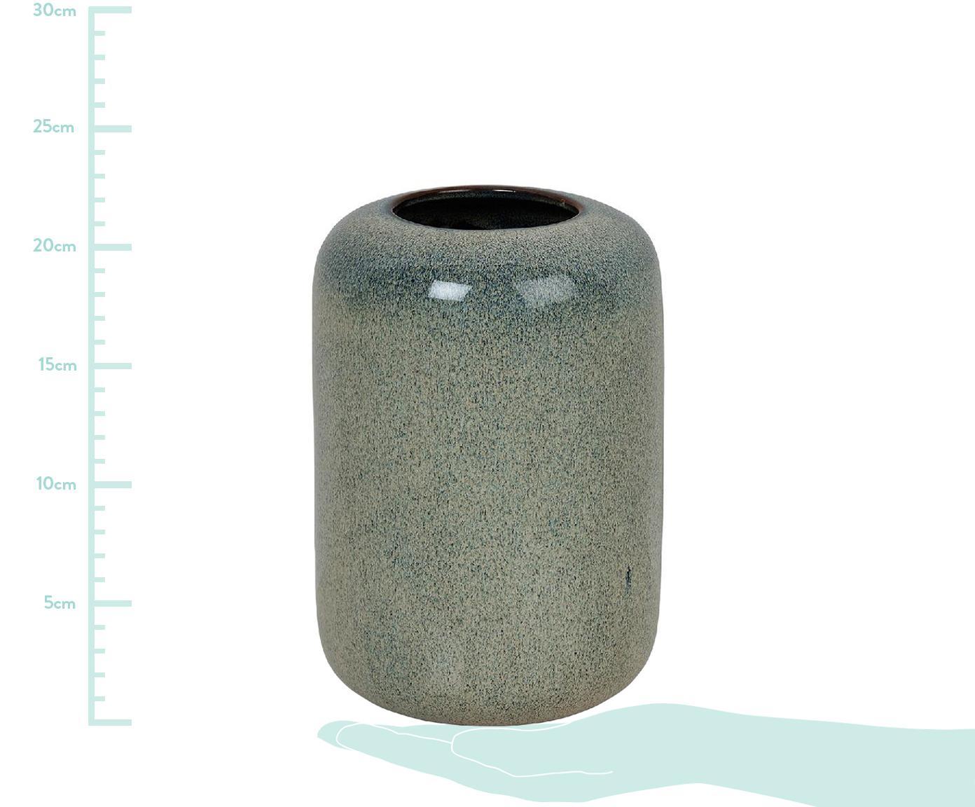 Vase Blue Ocean aus Keramik, Keramik, Blaugrün, Ø 15 x H 20 cm