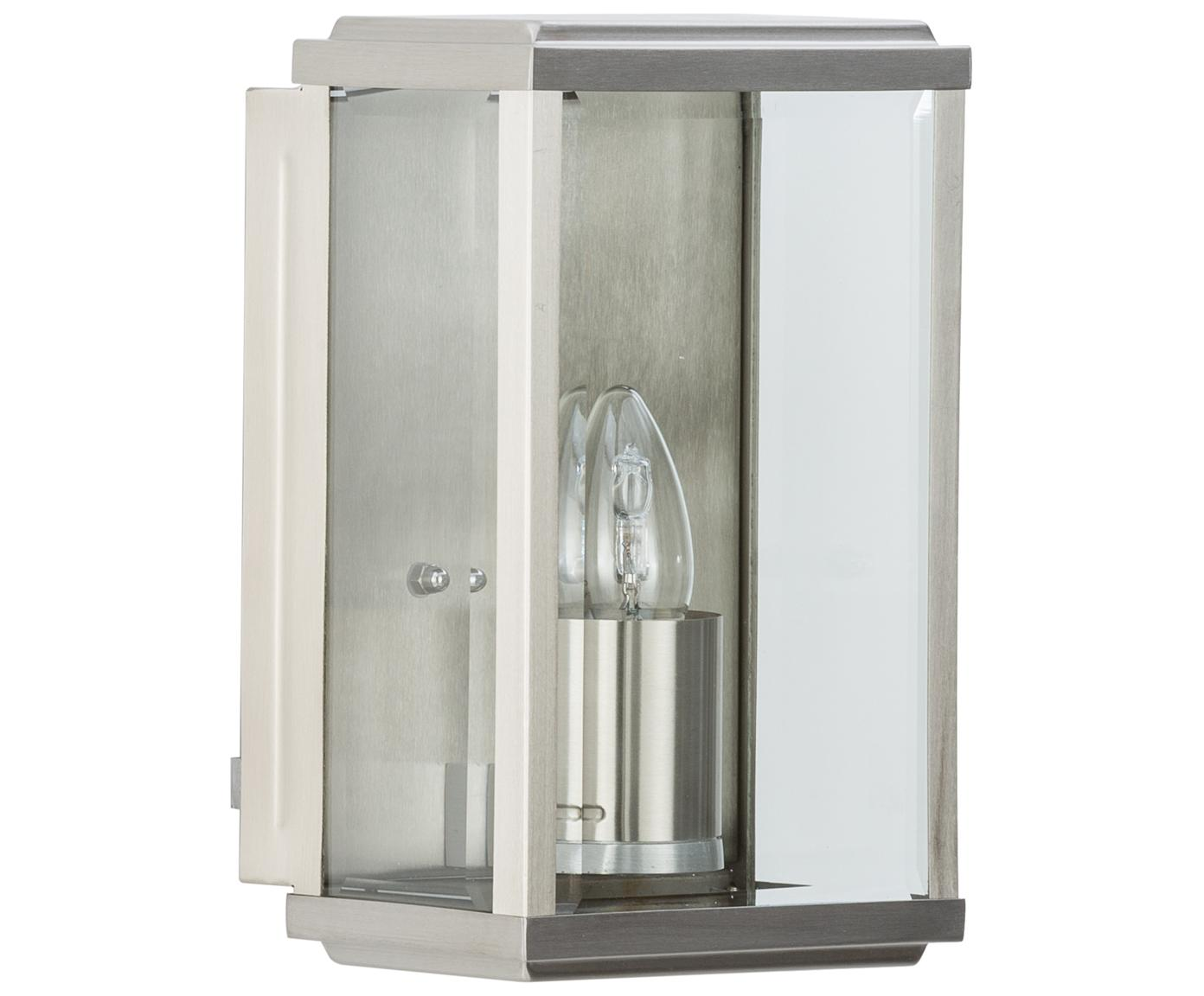 Outdoor wandlamp Wally in industrieel design, Gepolijst edelstaal met glazen inleg, Edelstaalkleurig, 16 x 25 cm