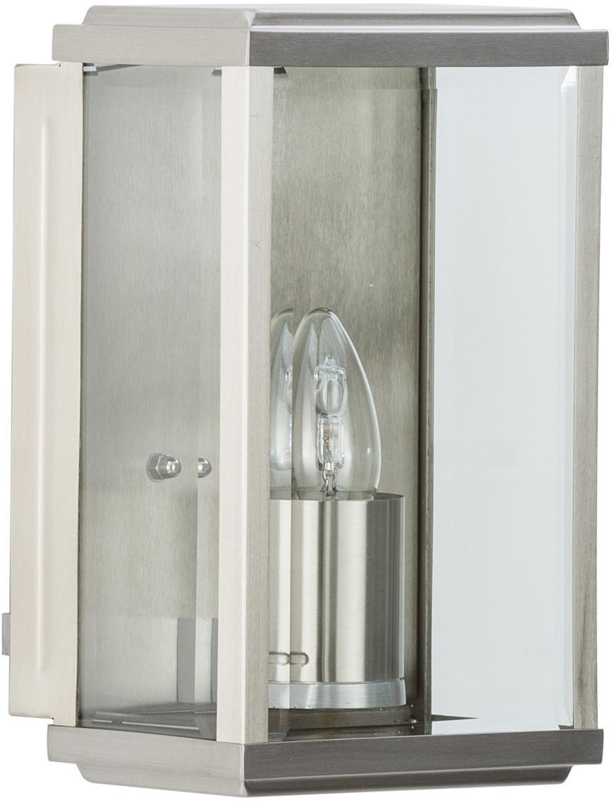 Applique industriale da esterno Wally, Acciaio inossidabile, lucido con inserto di vetro, Acciaio inossidabile, Larg. 16 x Alt. 25 cm