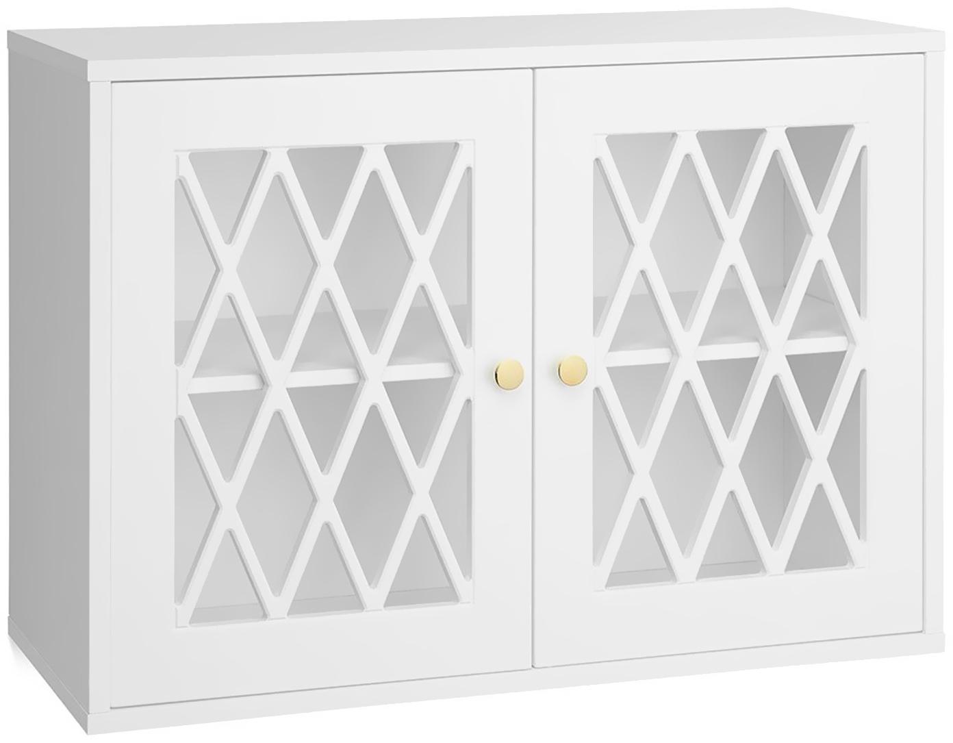 Kast Harlequin, Gelakt hout, Wit, 70 x 50 cm
