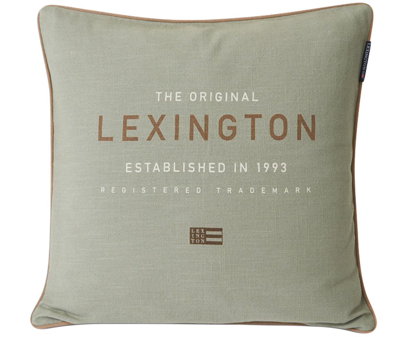 Poszewka na poduszkę z lamówką Grena, 100% bawełna, Szałwiowy zielony, brązowy, biały, S 50 x D 50 cm