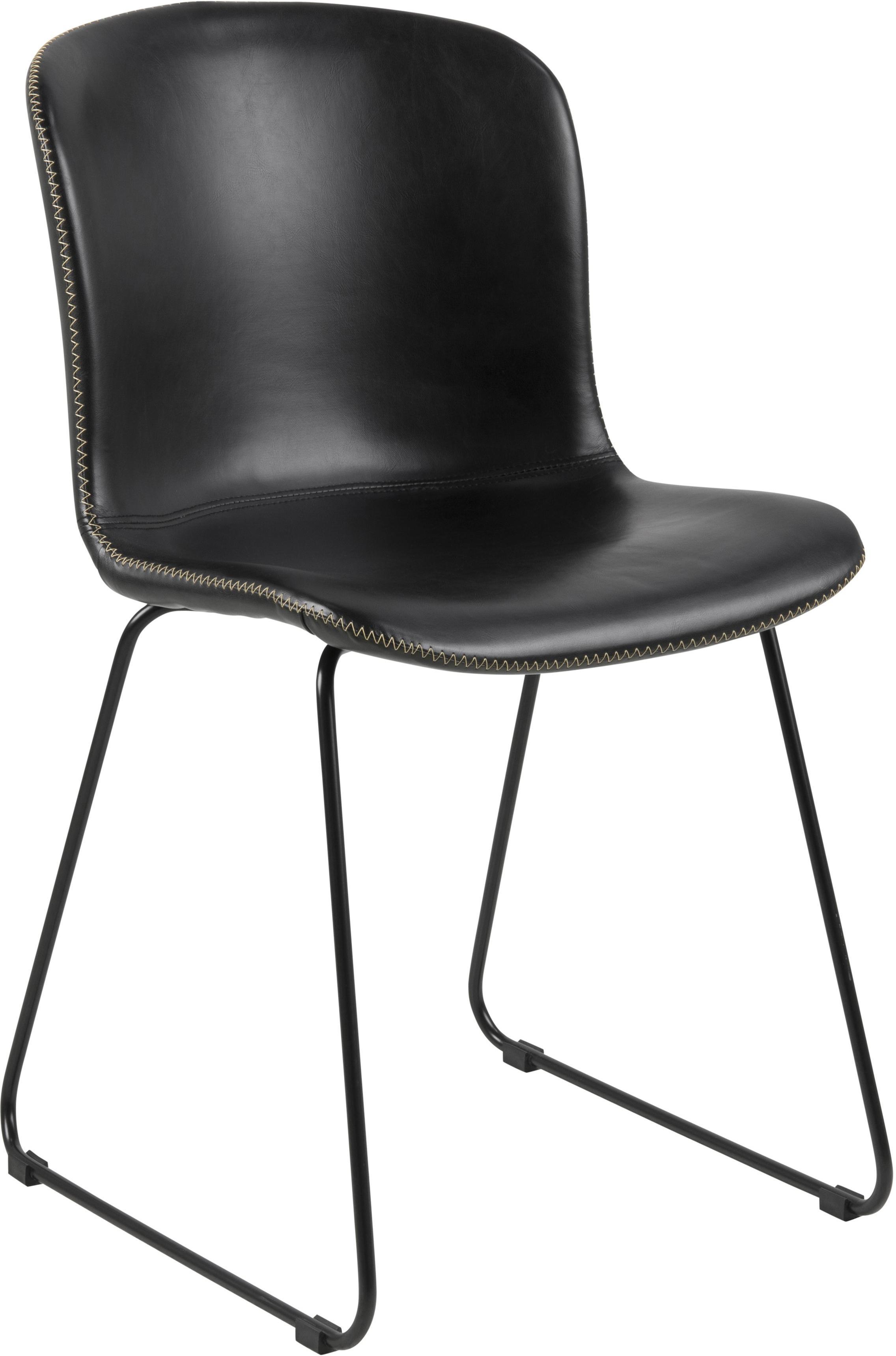 Sillas de cuero sintético Story, 2uds., Tapizado: cuero sintético, Patas: metal con pintura en polv, Negro, An 47 x F 51 cm