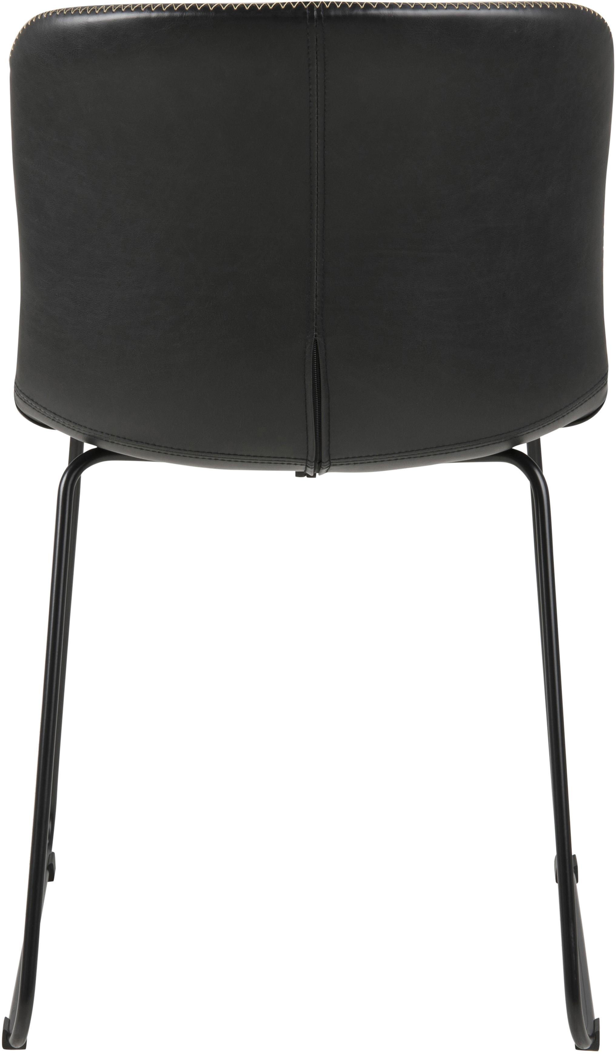 Kunstleder-Stühle Story, 2 Stück, Bezug: Kunstleder, Beine: Metall, pulverbeschichtet, Schwarz, B 47 x T 51 cm
