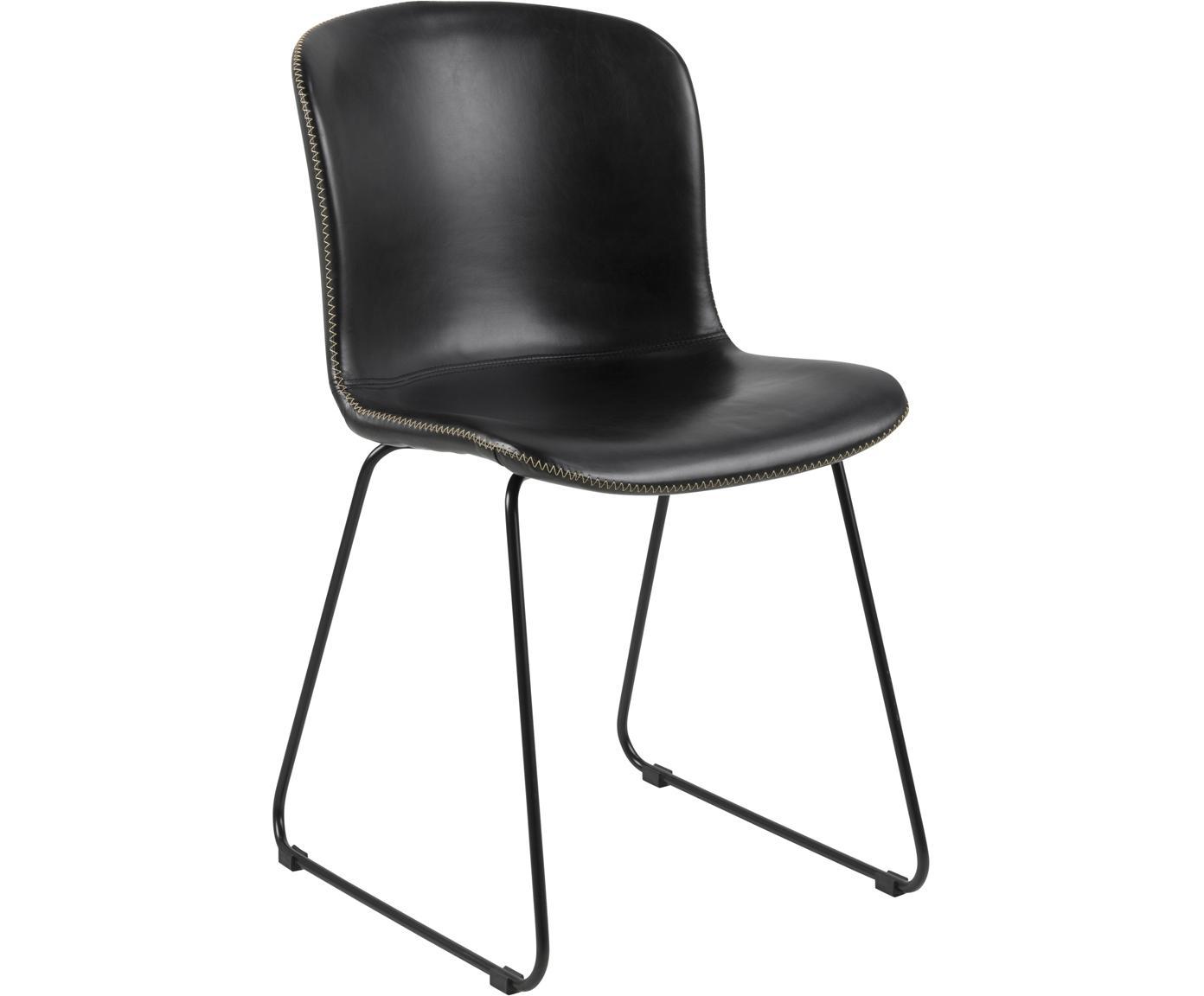 Krzesło tapicerowane ze sztucznej skóry Story, 2 szt., Tapicerka: sztuczna skóra, Nogi: metal malowany proszkowo, Czarny, S 47 x G 51 cm