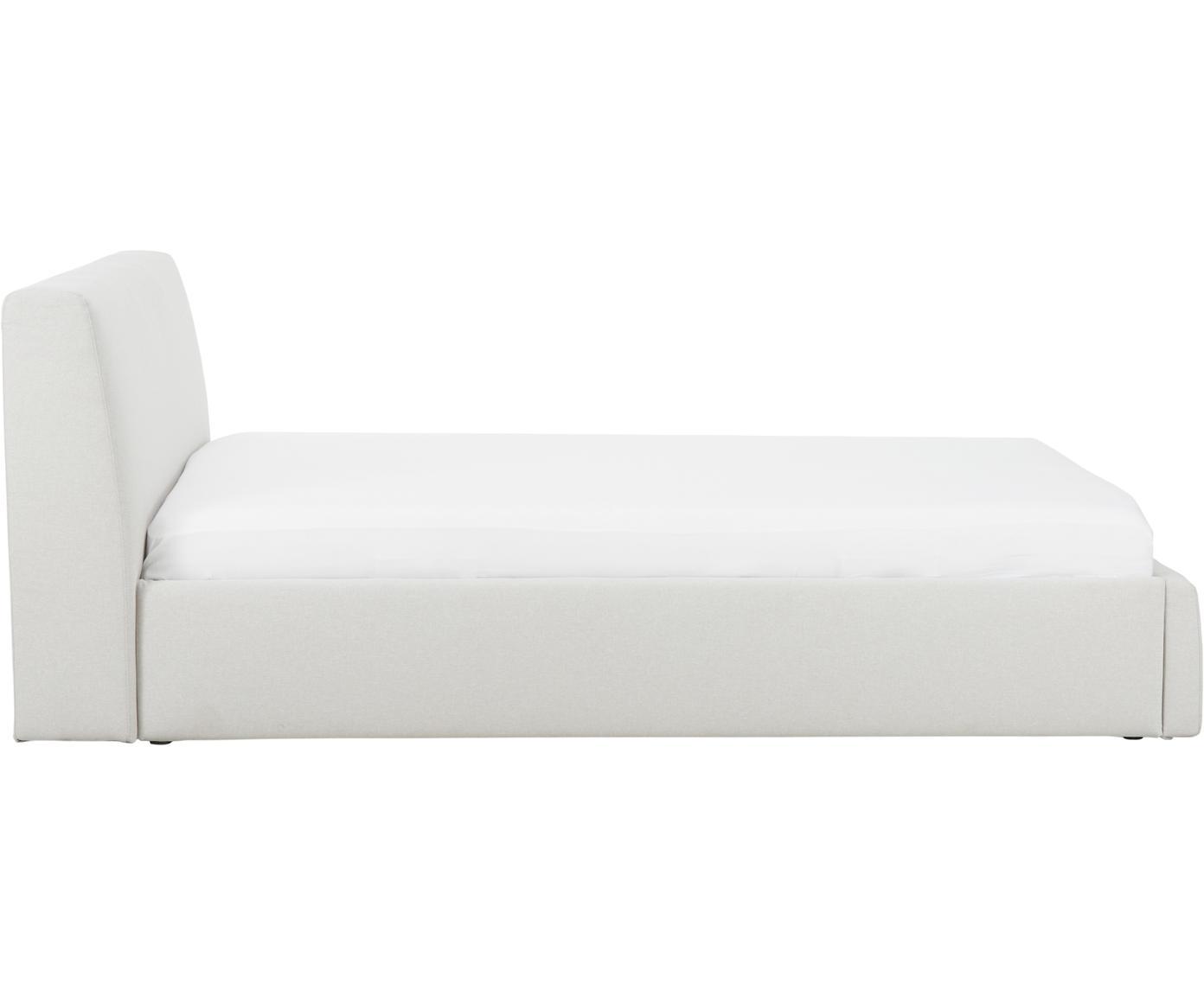 Letto imbottito con contenitore Cloud, Rivestimento: Poliestere (tessuto strut, Beige, 180 x 200 cm