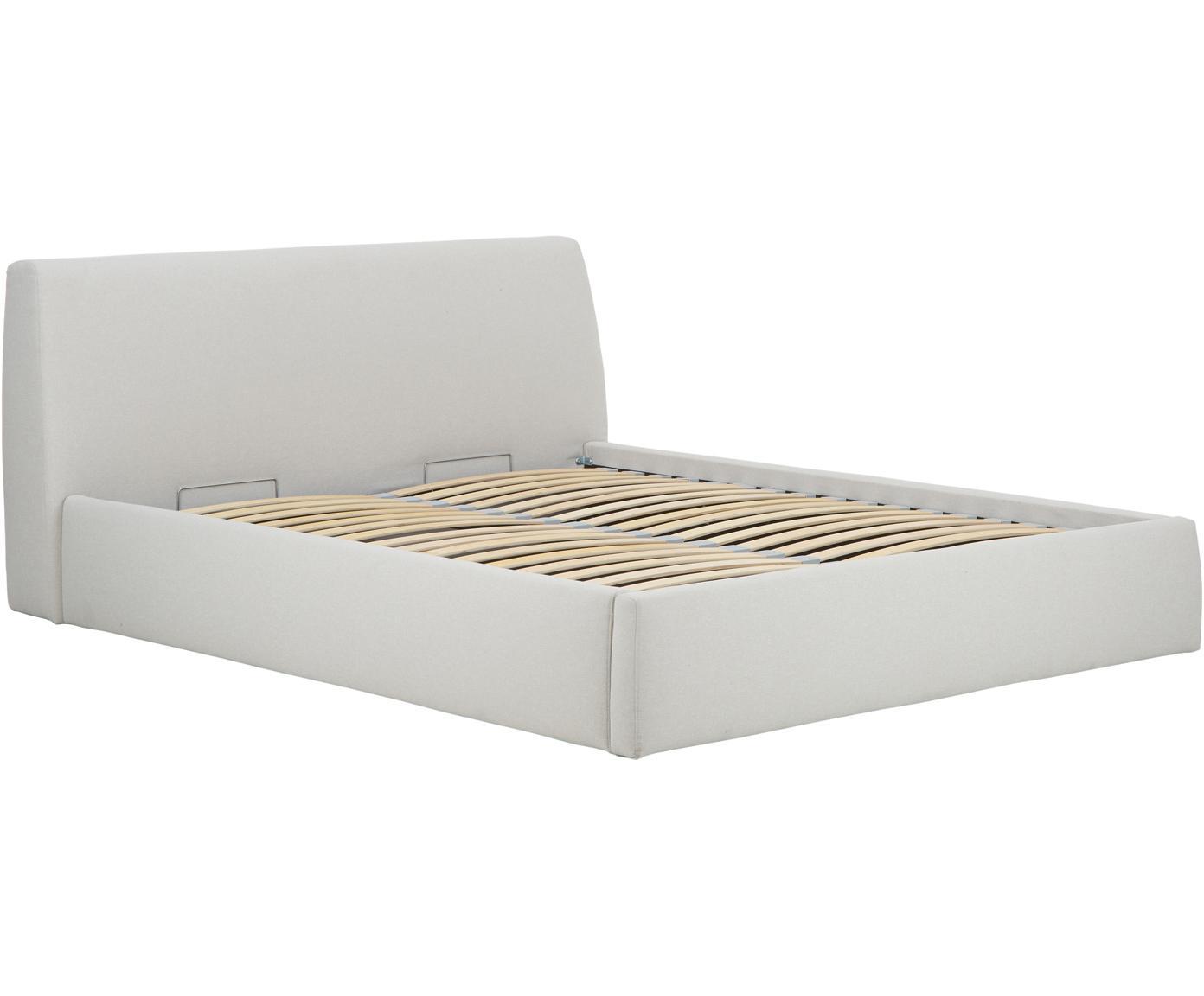 Łóżko tapicerowane ze schowkiem Cloud, Korpus: lite drewno sosnowe, Tapicerka: poliester (materiał tekst, Beżowy, 180 x 200 cm