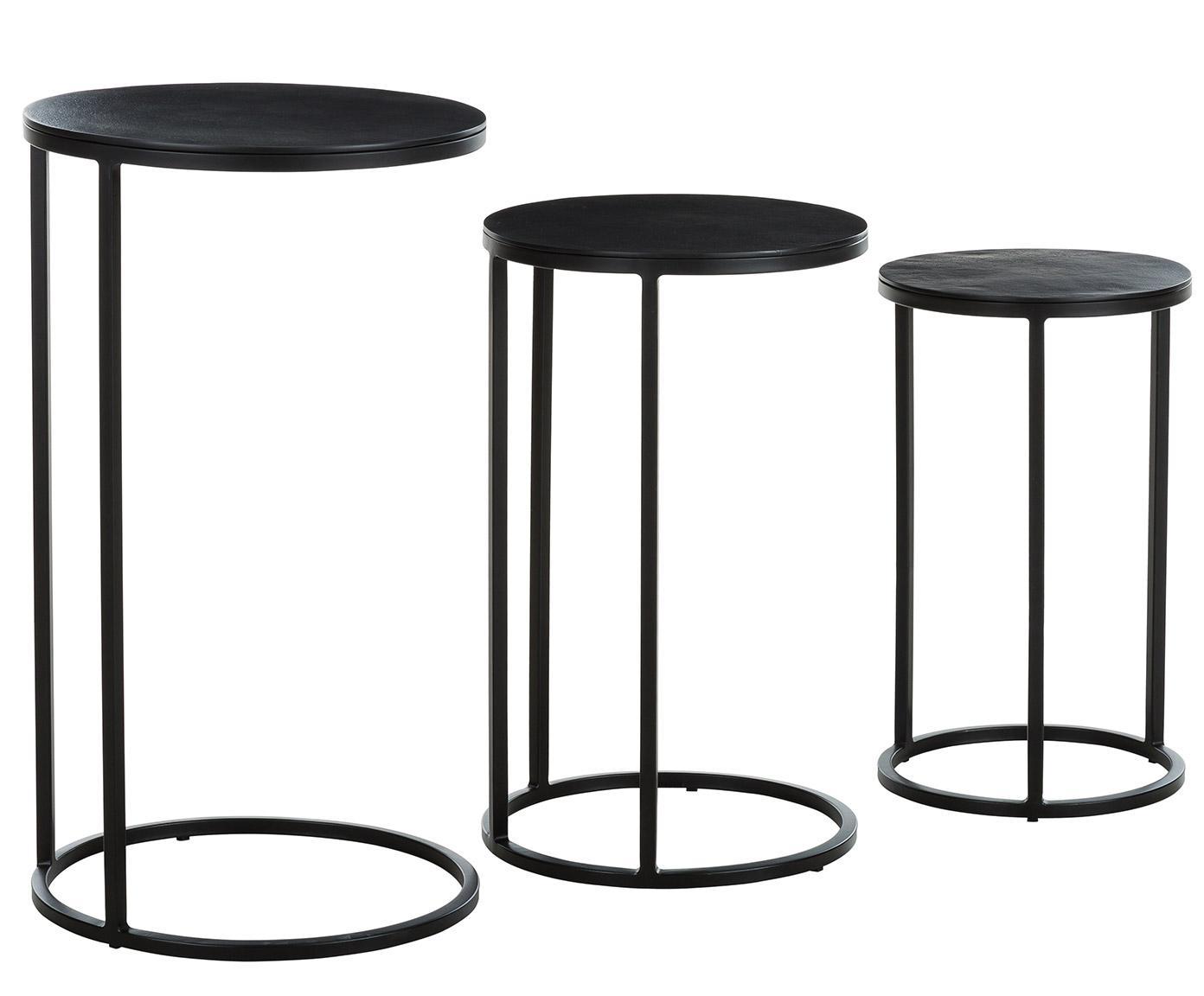 Set 3 tavolini in metallo Calvin, Ripiani: alluminio rivestito, Struttura: metallo verniciato, Nero con finitura antica, Diverse dimensioni