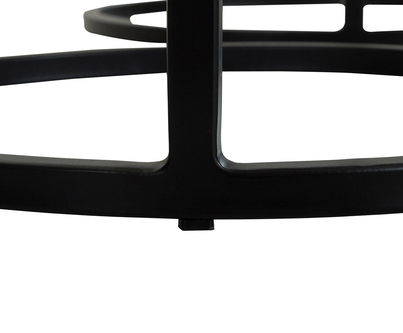 Komplet stolików pomocniczych Calvin, 3 elem., Blat: aluminium powlekane, Stelaż: metal lakierowany, Czarny z antycznym wykończeniem, Różne rozmiary