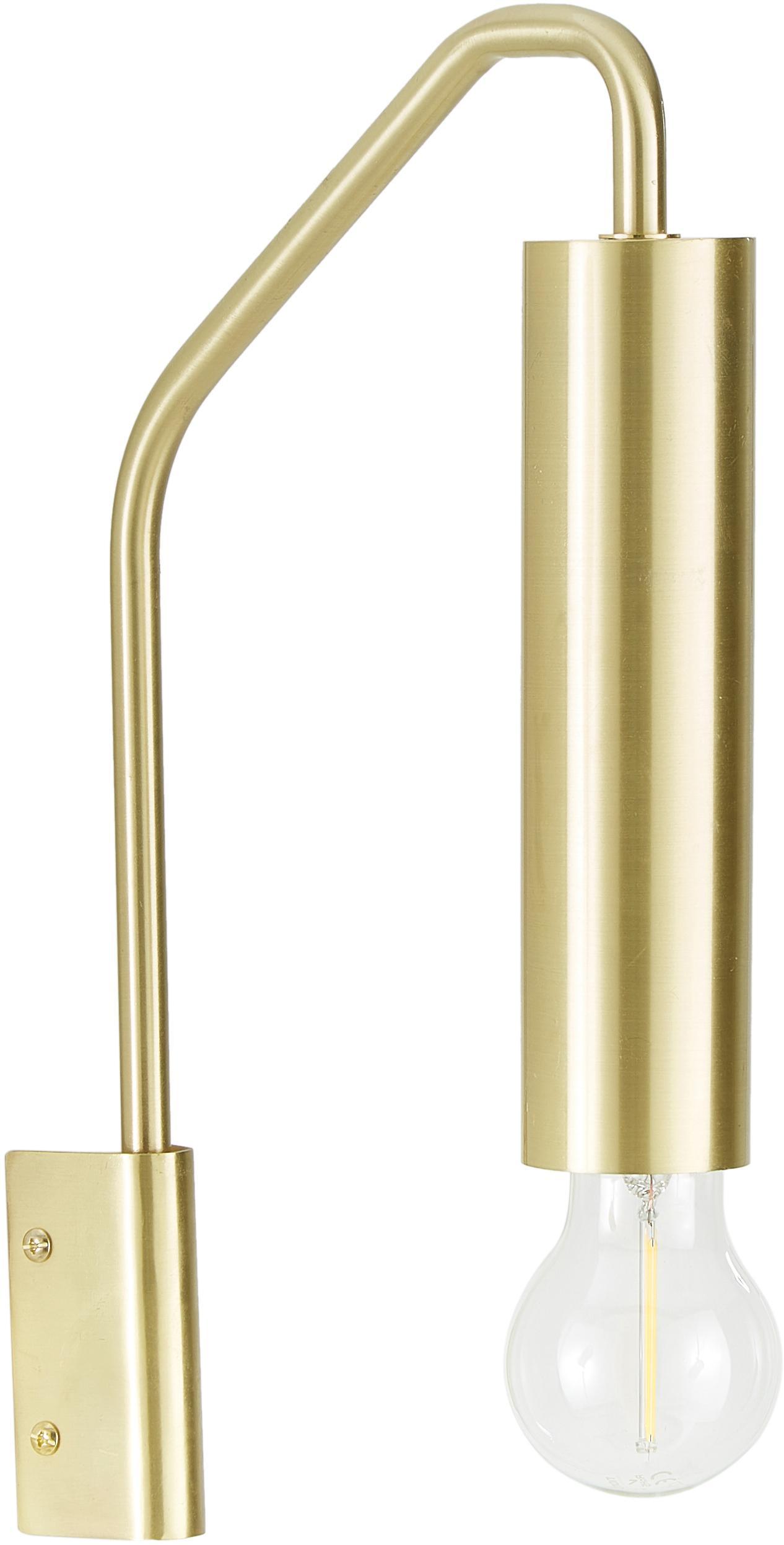 Wandlamp Ida, Geborsteld metaal, Messingkleurig, 5 x 35 cm