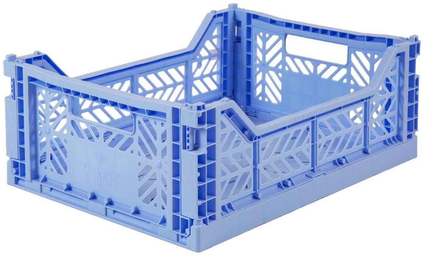 Cesto medio pieghevole e impilabile Baby, Materiale sintetico riciclato, Azzurro, Larg. 40 x Alt. 14 cm