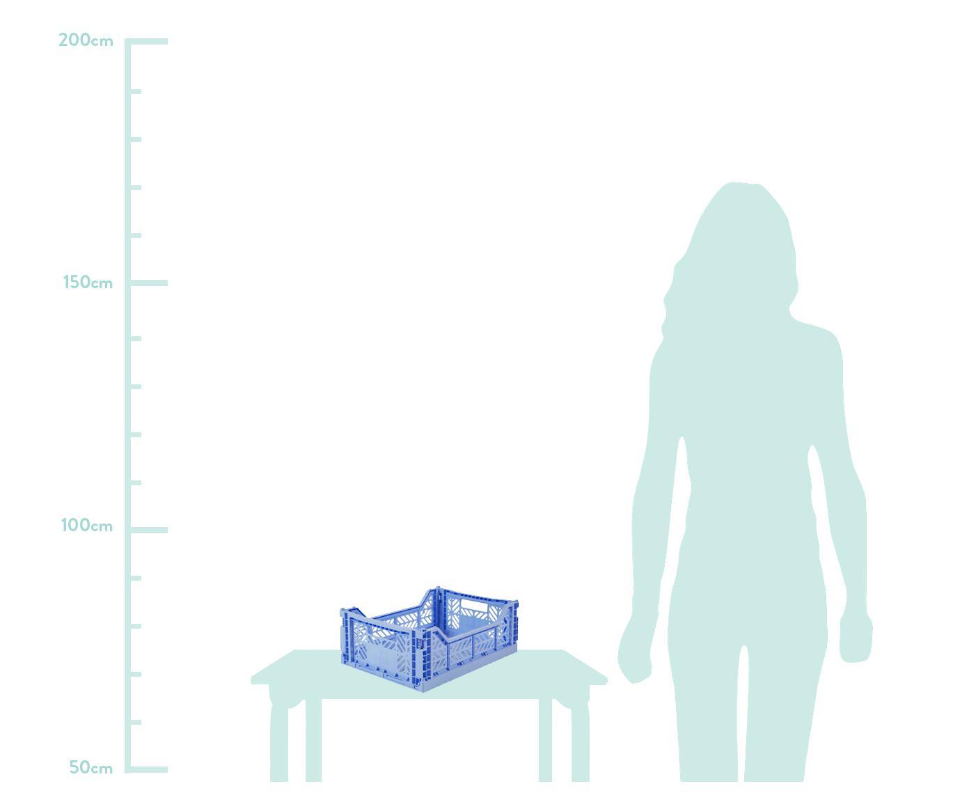 Klappkiste Baby, stapelbar, medium, Recycelter Kunststoff, Hellblau, 40 x 14 cm