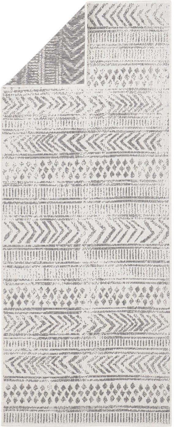 Dubbelzijdige in- en outdoor loper Biri met grafisch patroon, Polypropyleen, Grijs, crèmekleurig, 80 x 250 cm