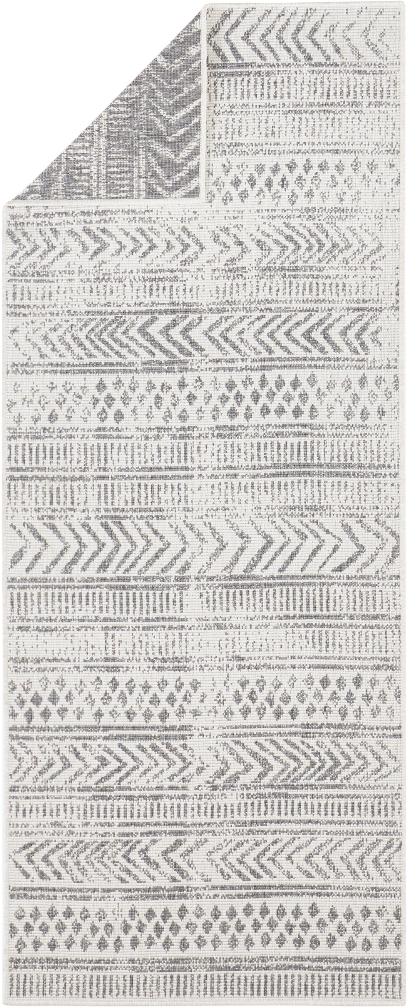 Gemusterter In- & Outdoor-Wendeläufer Biri in Grau/Creme, 100% Polypropylen, Grau, Creme, 80 x 250 cm