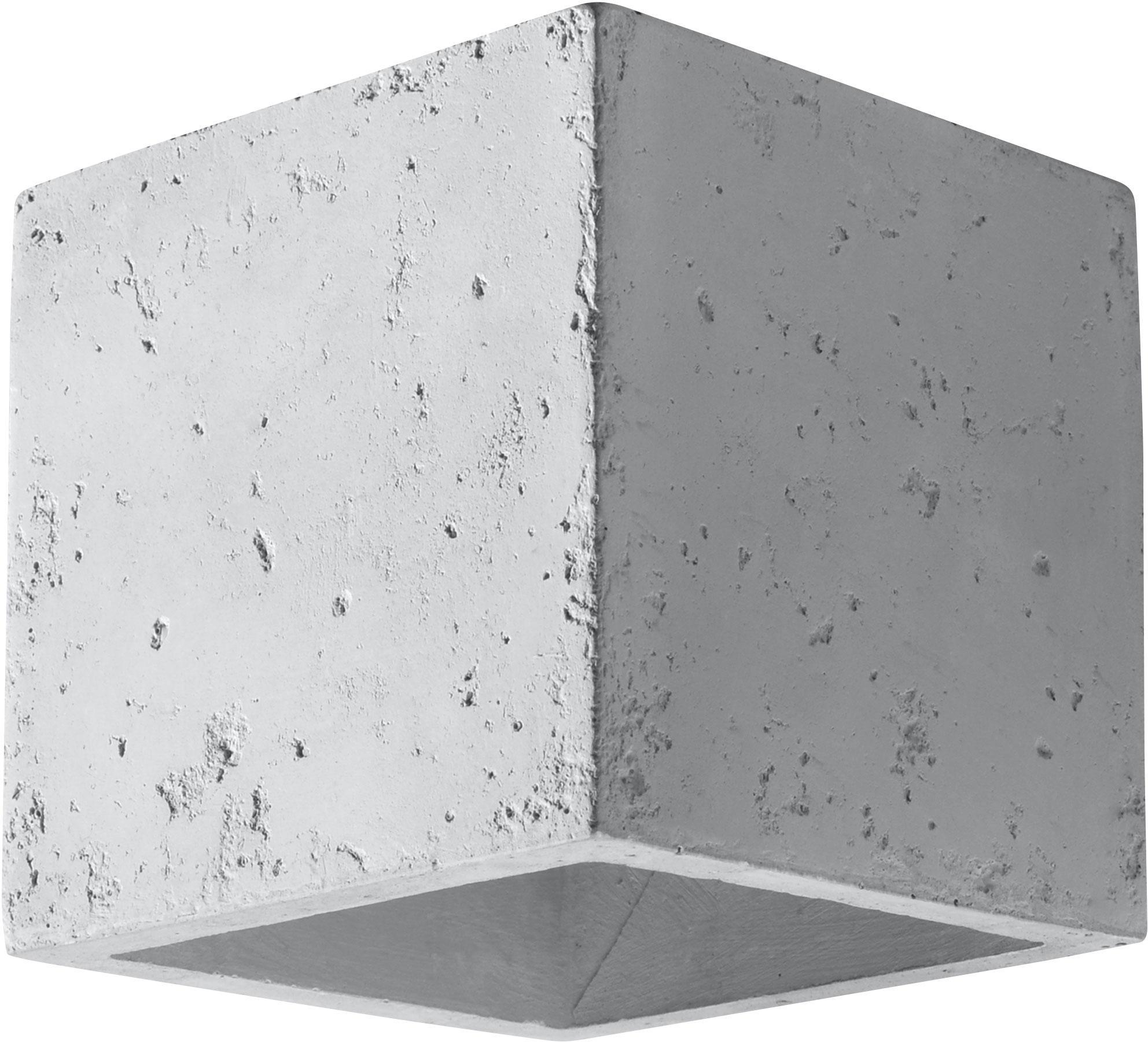 Applique Geo, Cemento, Bianco latte, Larg. 10 x Alt. 12 cm
