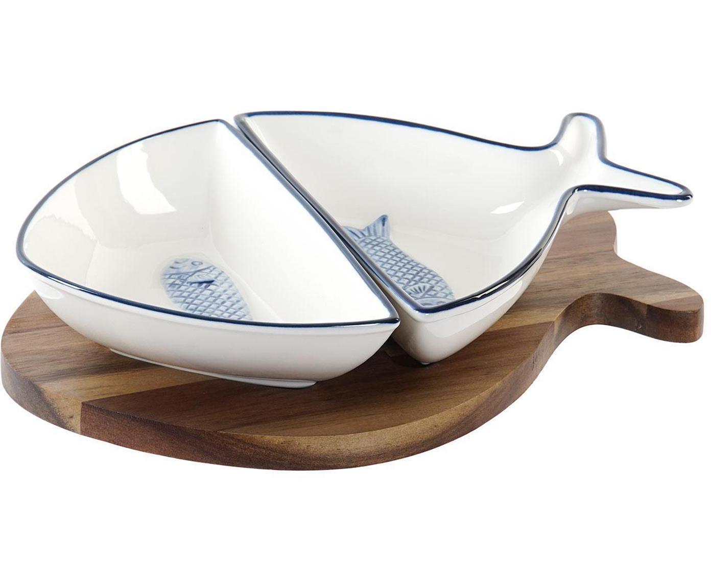 Set de servir Ryba, 3pzas., Cuencos: Porcelana, Bandeja: Madera de acacia, Blanco, azul, An 24 x Al 5 cm