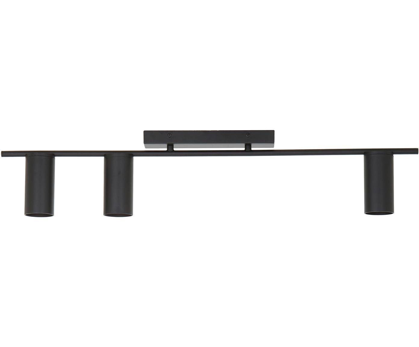 Plafondspot Cassandra, Gepoedercoat metaal, Mat zwart, 80 x 16 cm