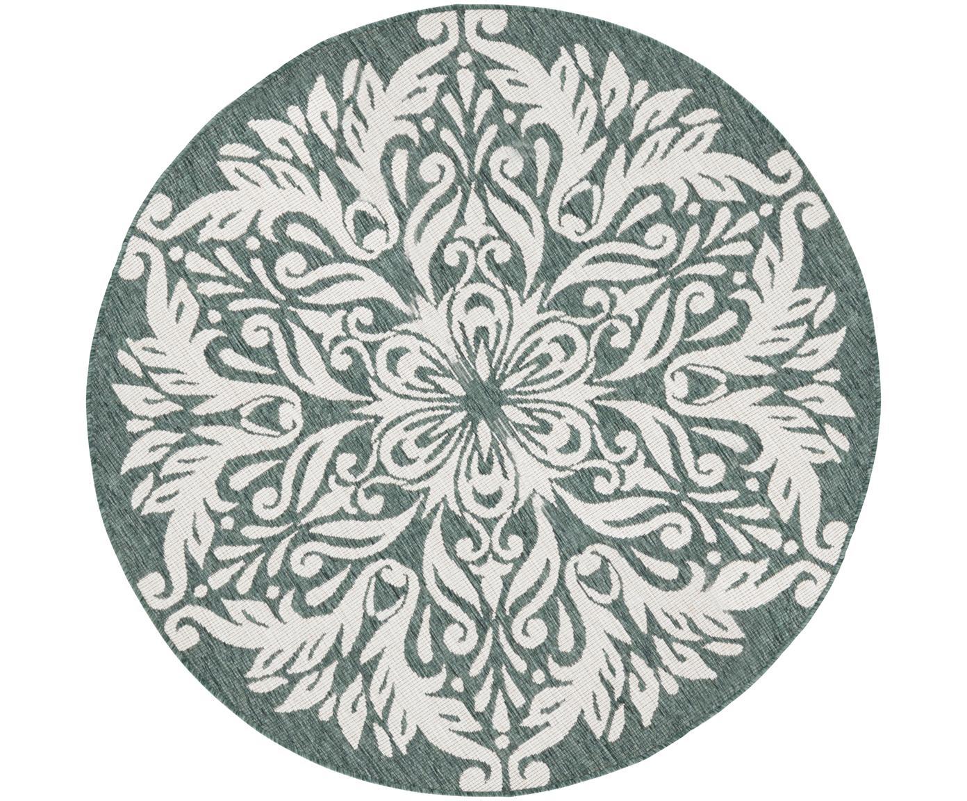 Alfombra redonda de interior y exterior Madrid, caras distintas, Verde, crema, Ø 200 cm