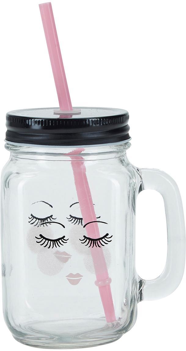 Szklanka ze słomką Closed Eyes, 2 szt., Transparentny, czarny, różowy, Ø 7 x W 16 cm
