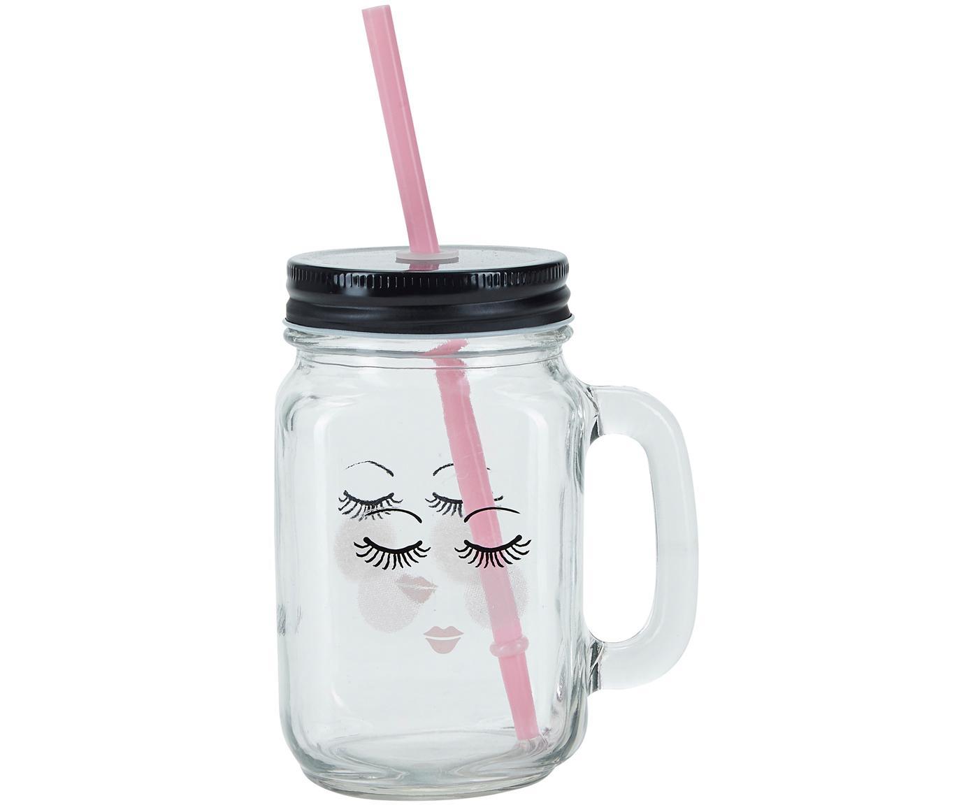 Drinkglas Closed Eyes, 2 stuks, Deksel: metaal, kunststof, Rietje: kunststof, Transparant, zwart, roze, Ø 7 x H 16 cm
