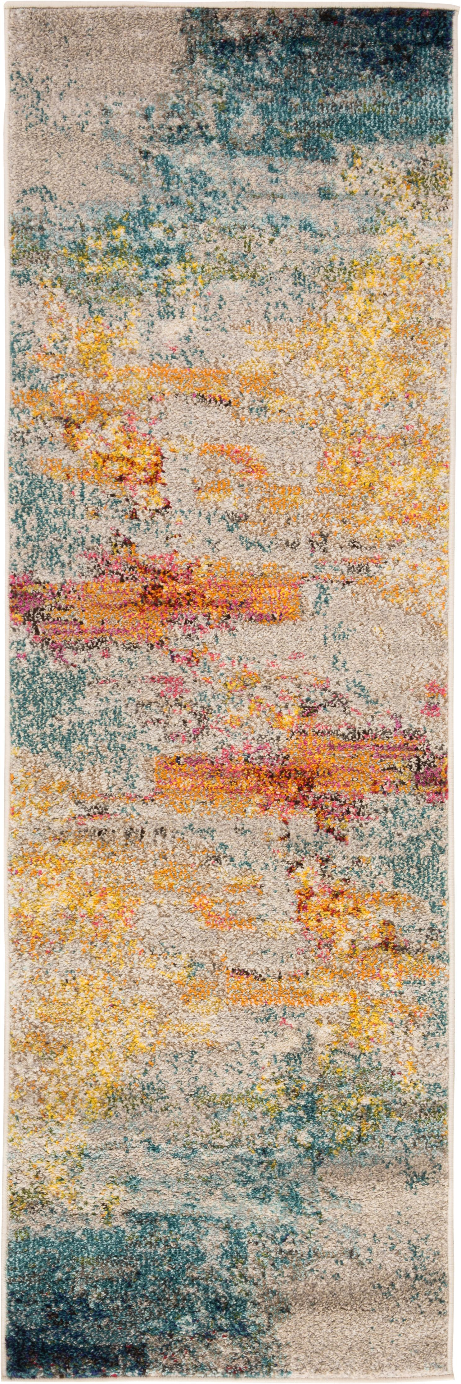 Design loper Celestial in kleur, Bovenzijde: 100% polypropyleen, Onderzijde: jute, Multicolour, 60 x 180 cm