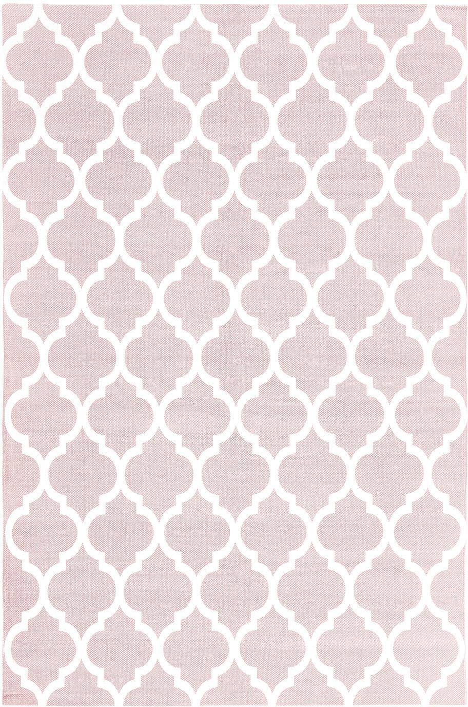 Flachgewebter Baumwollteppich Amira in Rosa/Weiss, 100% Baumwolle, Rosa, Cremeweiss, B 120 x L 180 cm (Grösse S)