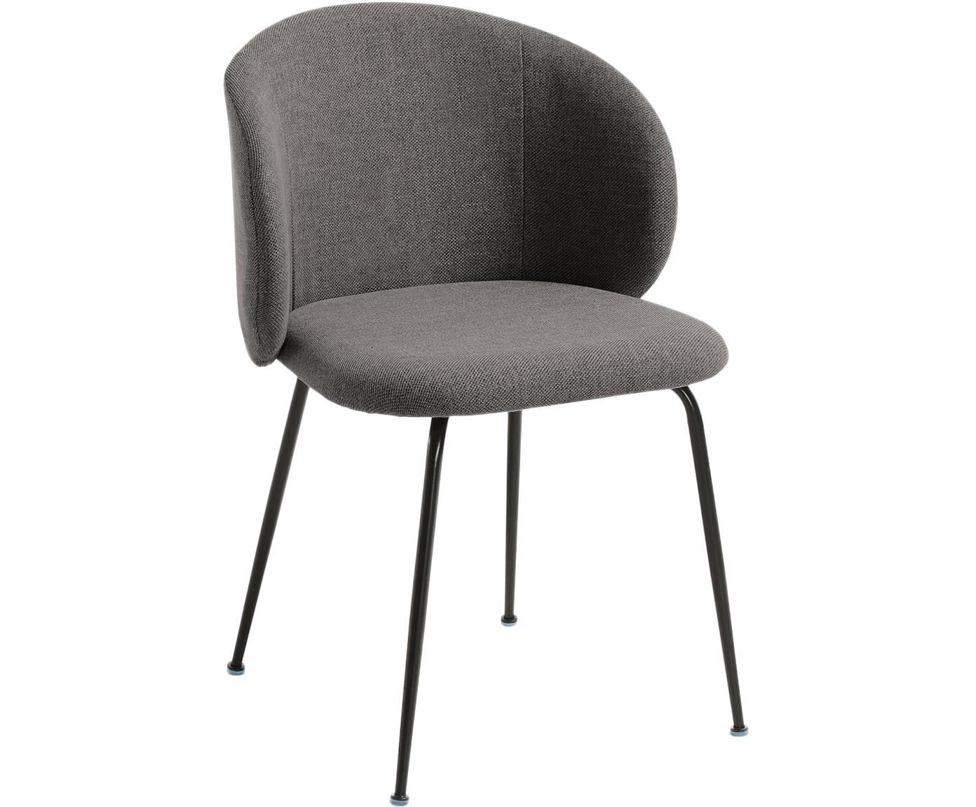 Krzesło tapicerowane Minna, Tapicerka: tkanina, Stelaż: metal powlekany, Ciemnyszary, czarny, S 57 x G 56 cm