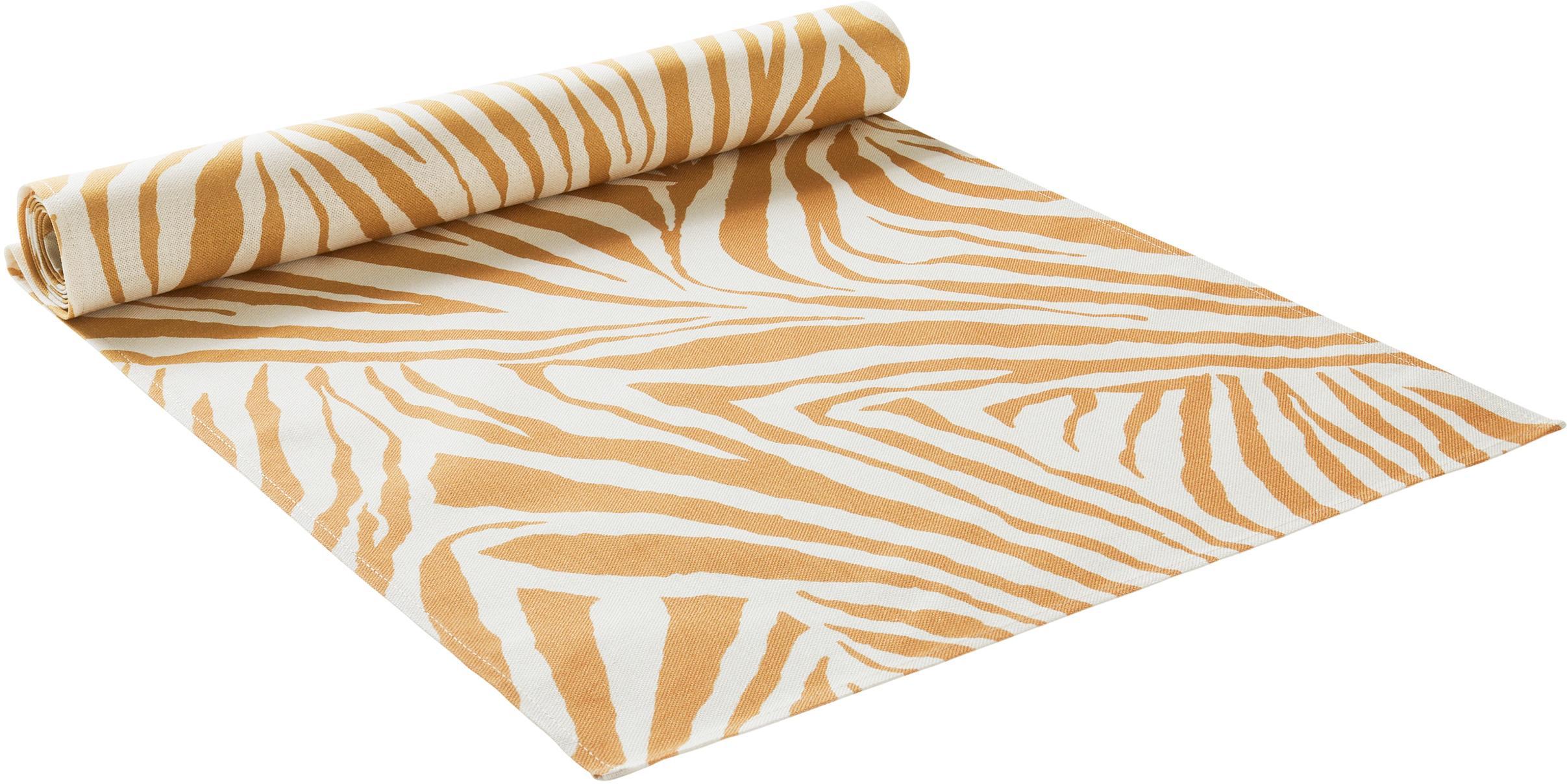 Bieżnik Zadie, 100% bawełna pochodząca ze zrównoważonych upraw, Musztardowy, kremowobiały, D 40 x S 140 cm