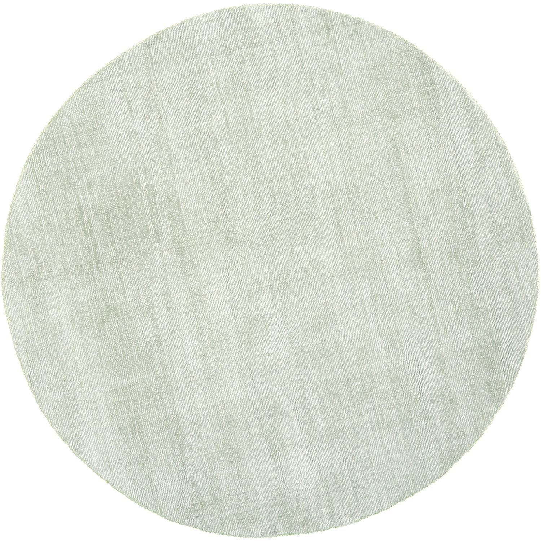 Runder Viskoseteppich Jane in Lindgrün, handgewebt, Flor: 100% Viskose, Lindgrün, Ø 120 cm (Größe S)