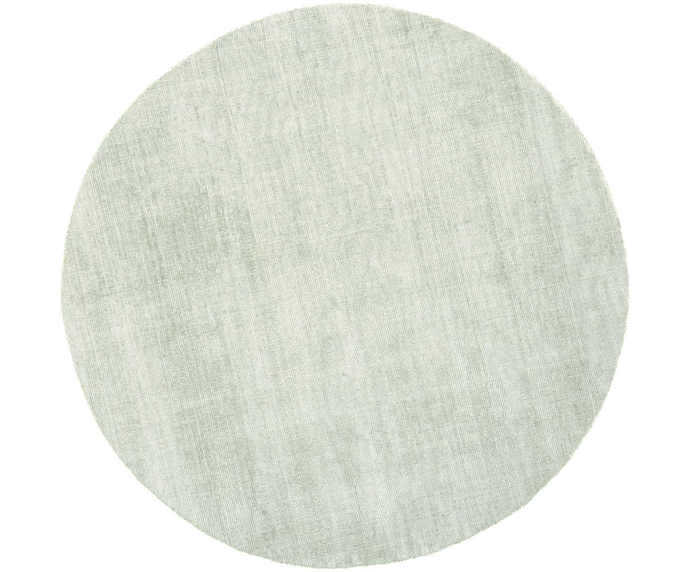 Alfombra redonda artesanal de viscosa Jane, Parte superior: 100%viscosa, Reverso: 100%algodón, Verde menta, Ø 120 cm (Tamaño S)